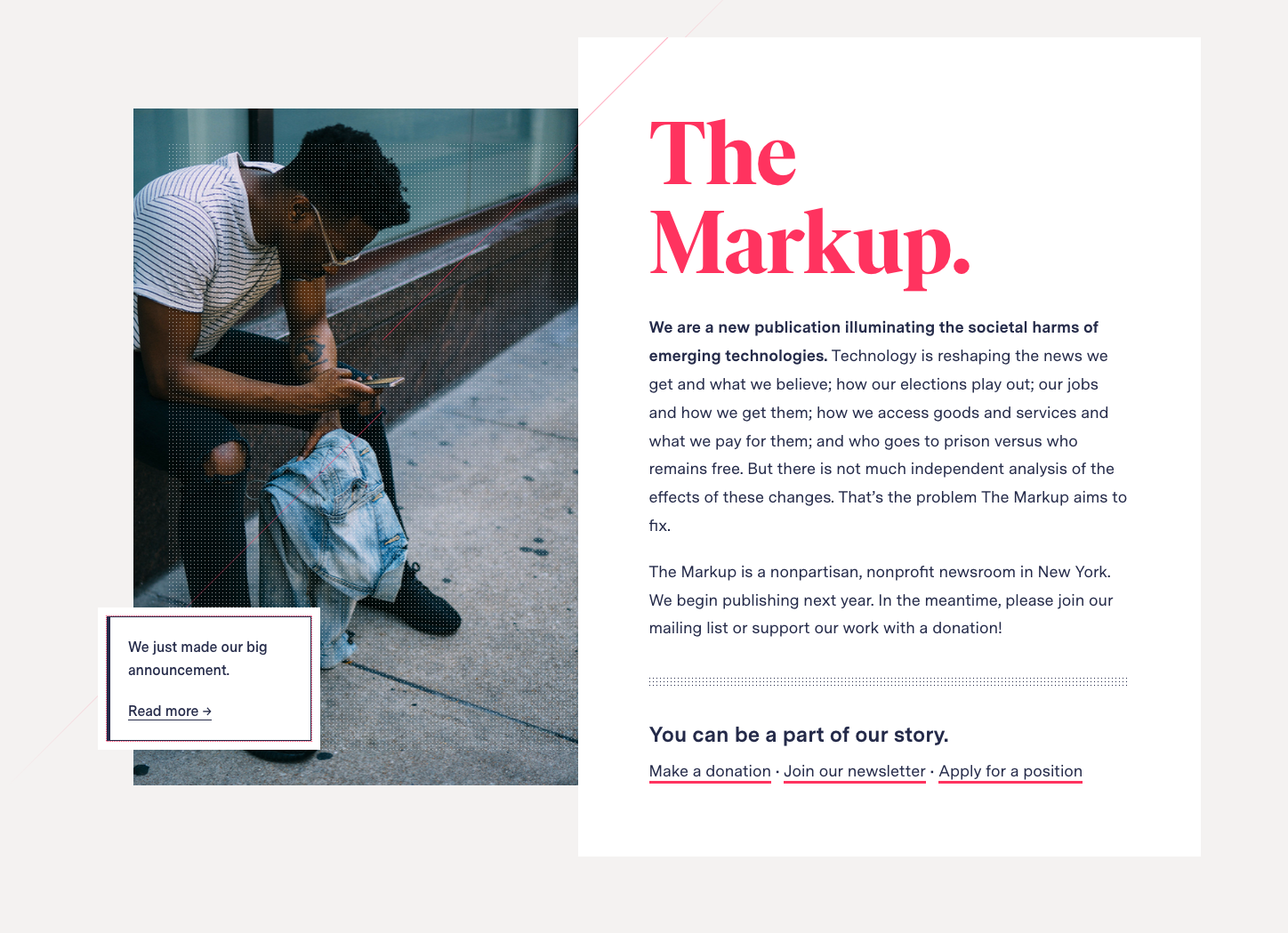 The Markup's homepage with text and a picture of a man sitting and looking at his mobile phone