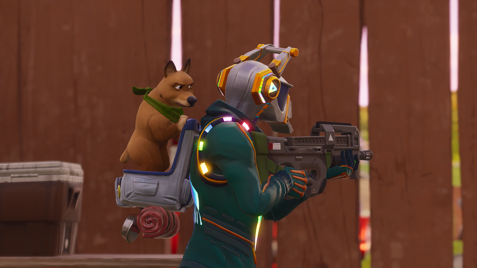 Fortnite - soldier with a dog on his back