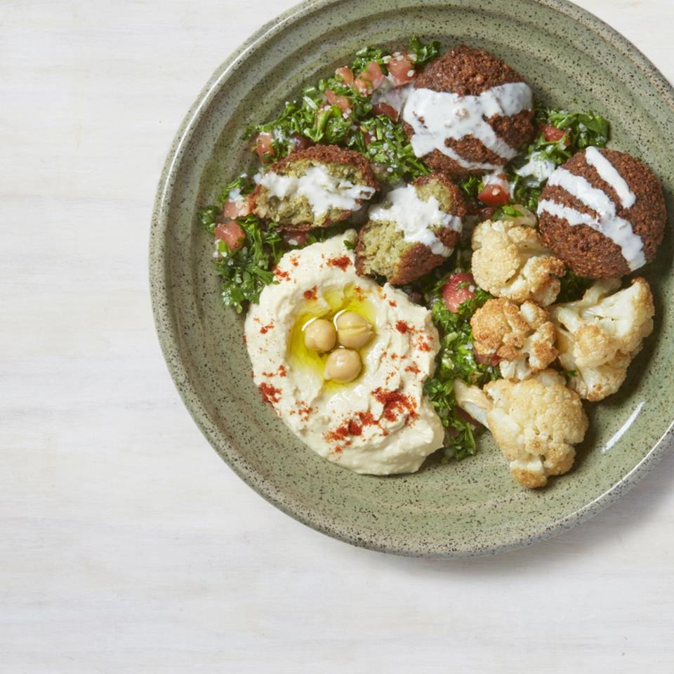 Falafel, tabbouleh, hummus, and cauliflower at Aceituna