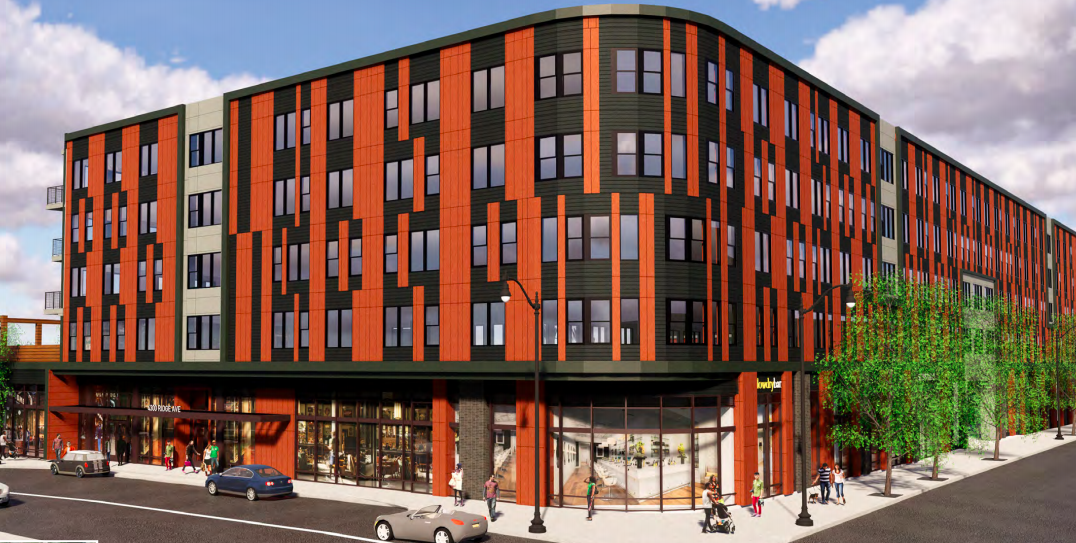 A rendering of Ridge Flats in Philadelphia. The facade is red and black.