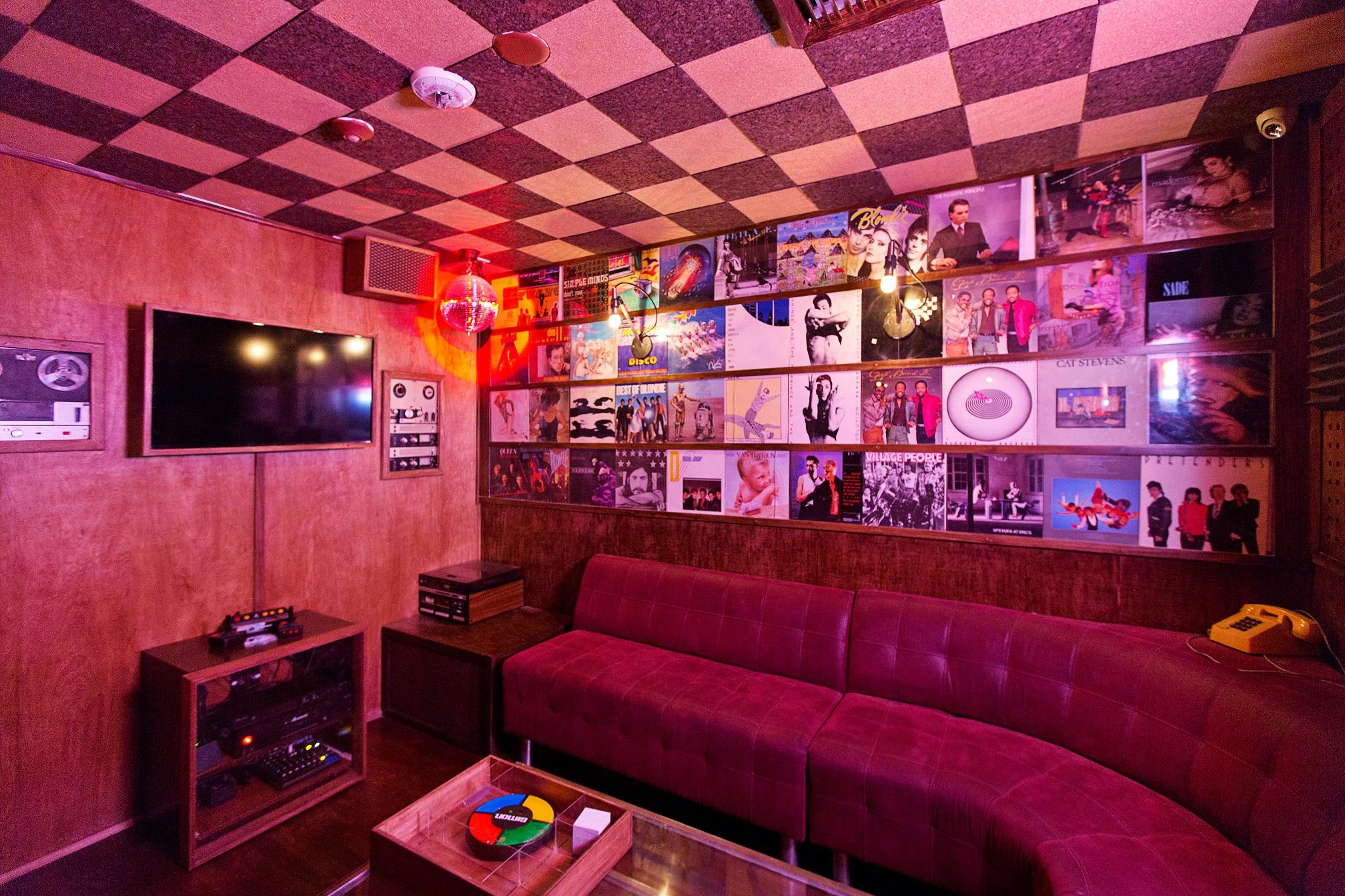 The karaoke room at Houston Hospitality's Break Room 86 in Los Angeles