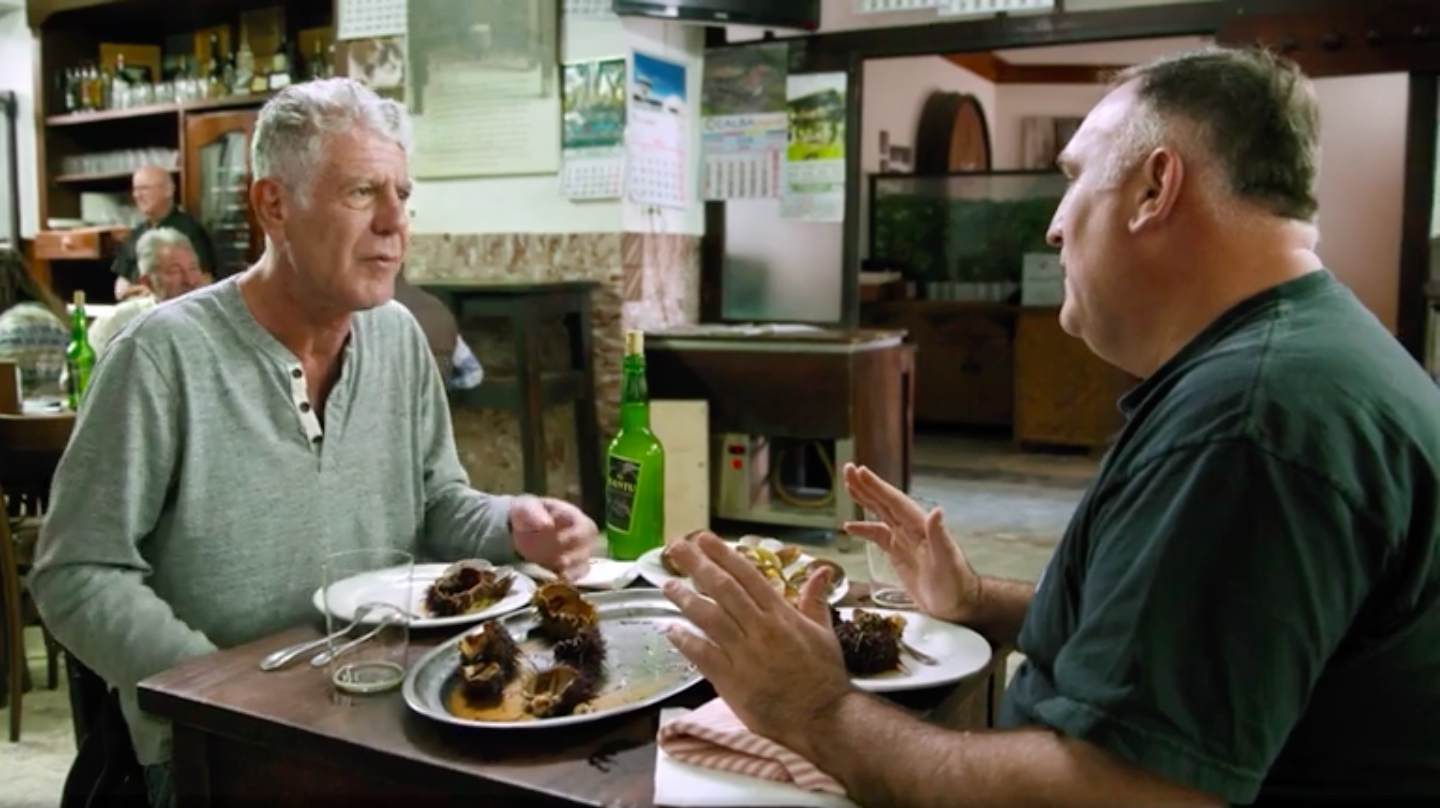Anthony bourdain and jose andres in a clip from parts unknown