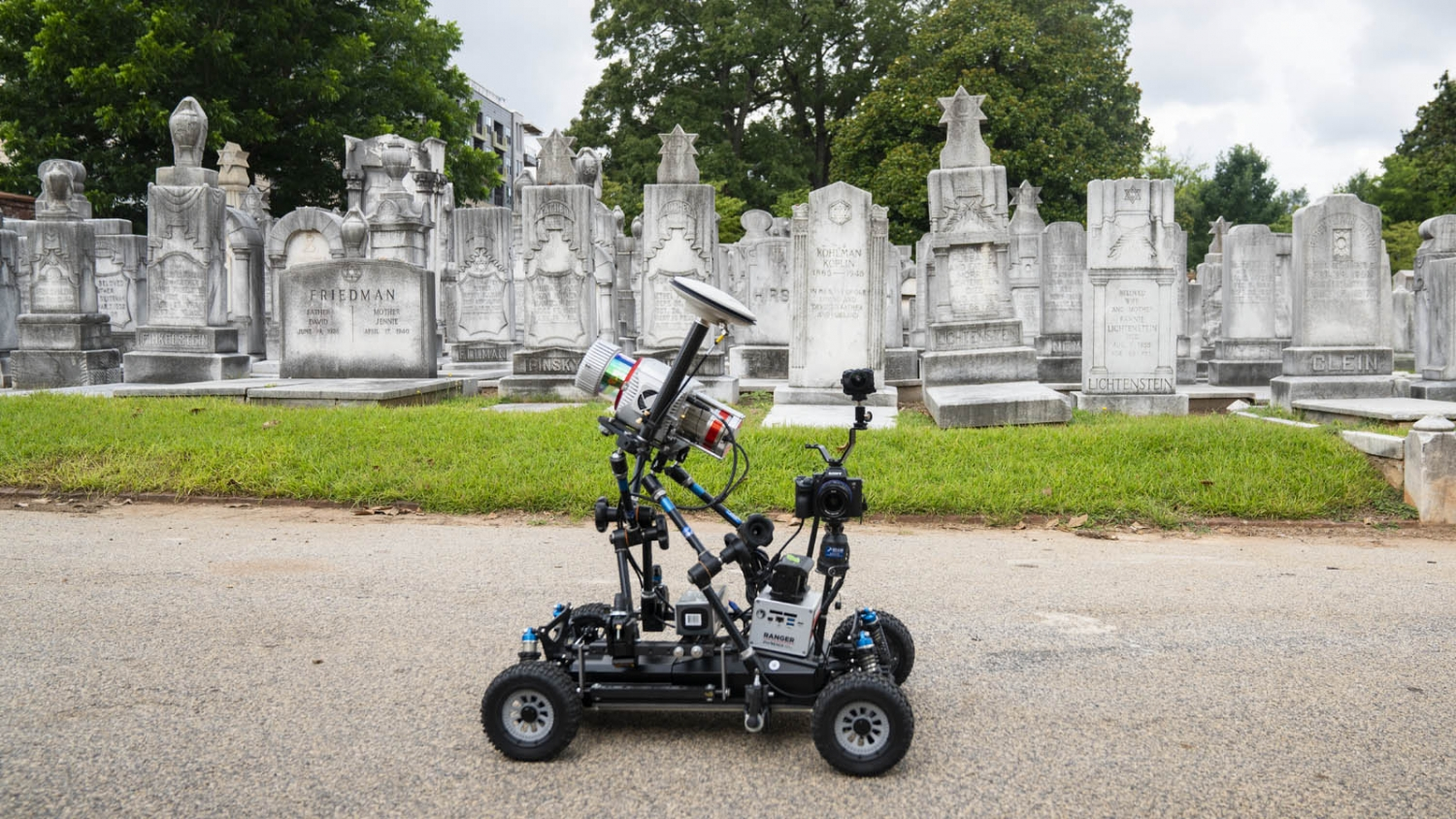 a photo of the rover used to map part of the cemetery