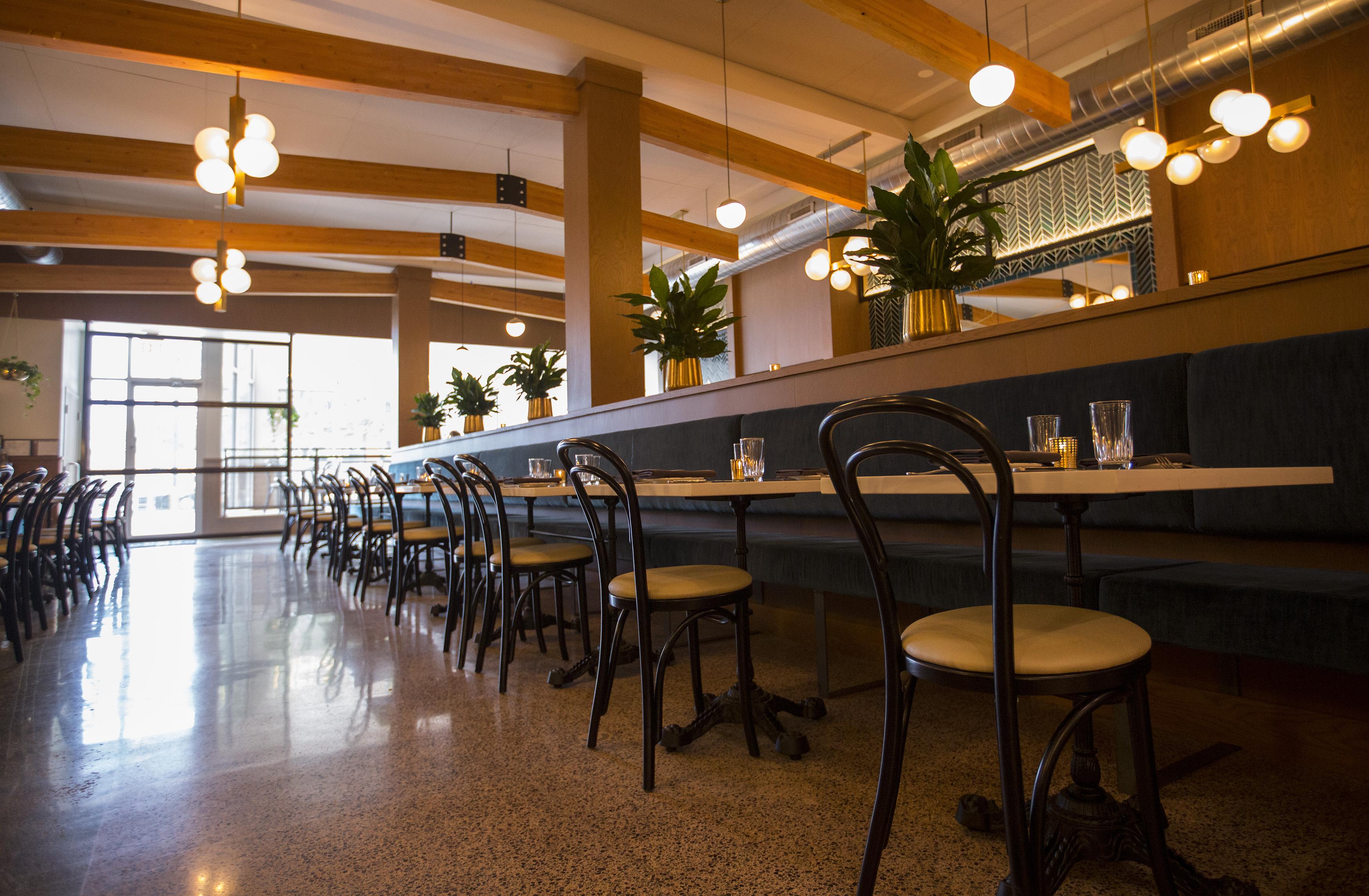 A low-level shot of a restaurant's bar.
