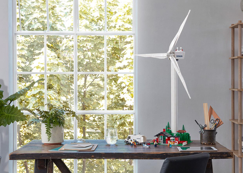 Lego turbine on table