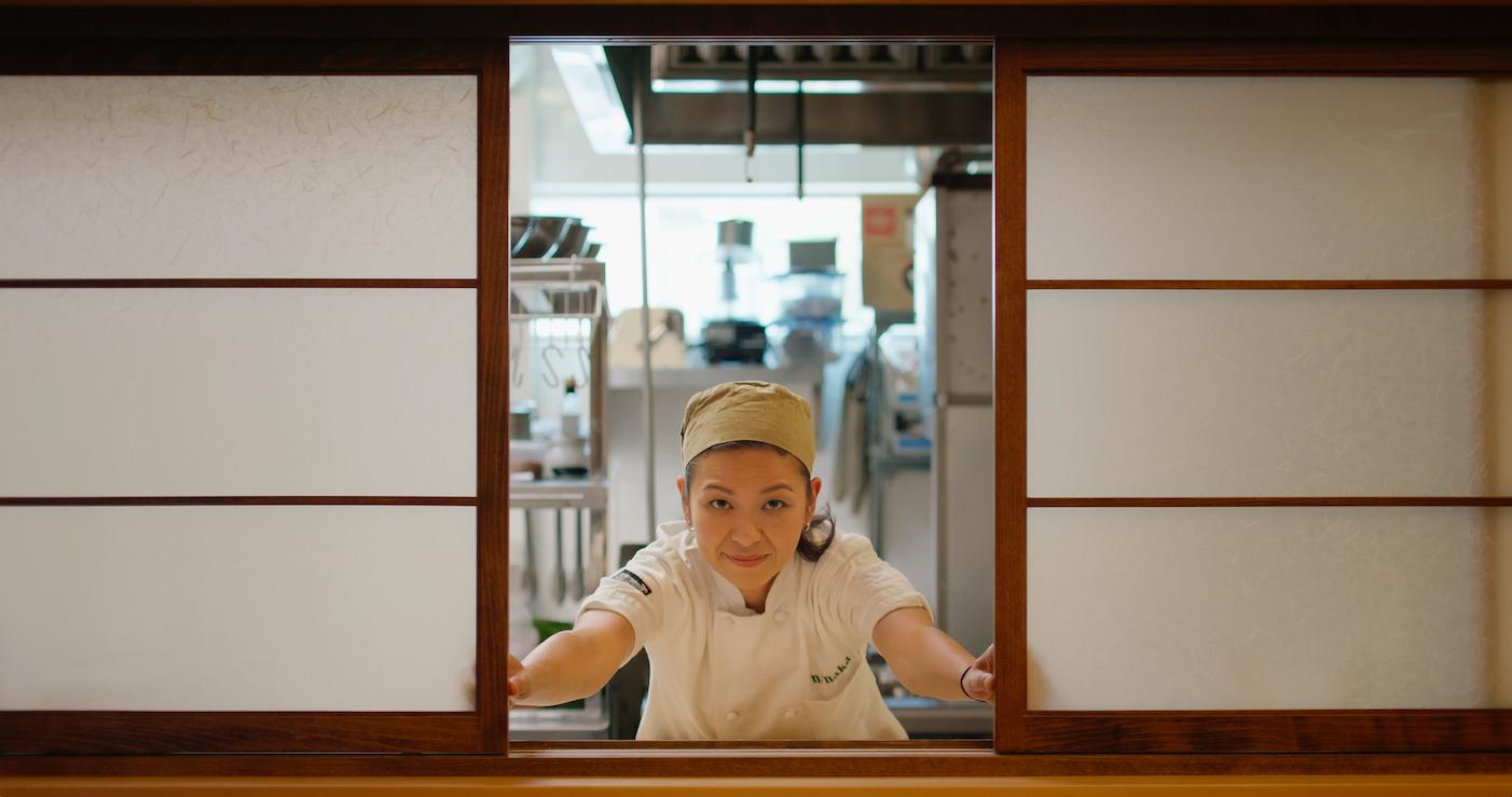 Niki Nakayama at her restaurant in Chef's Table.