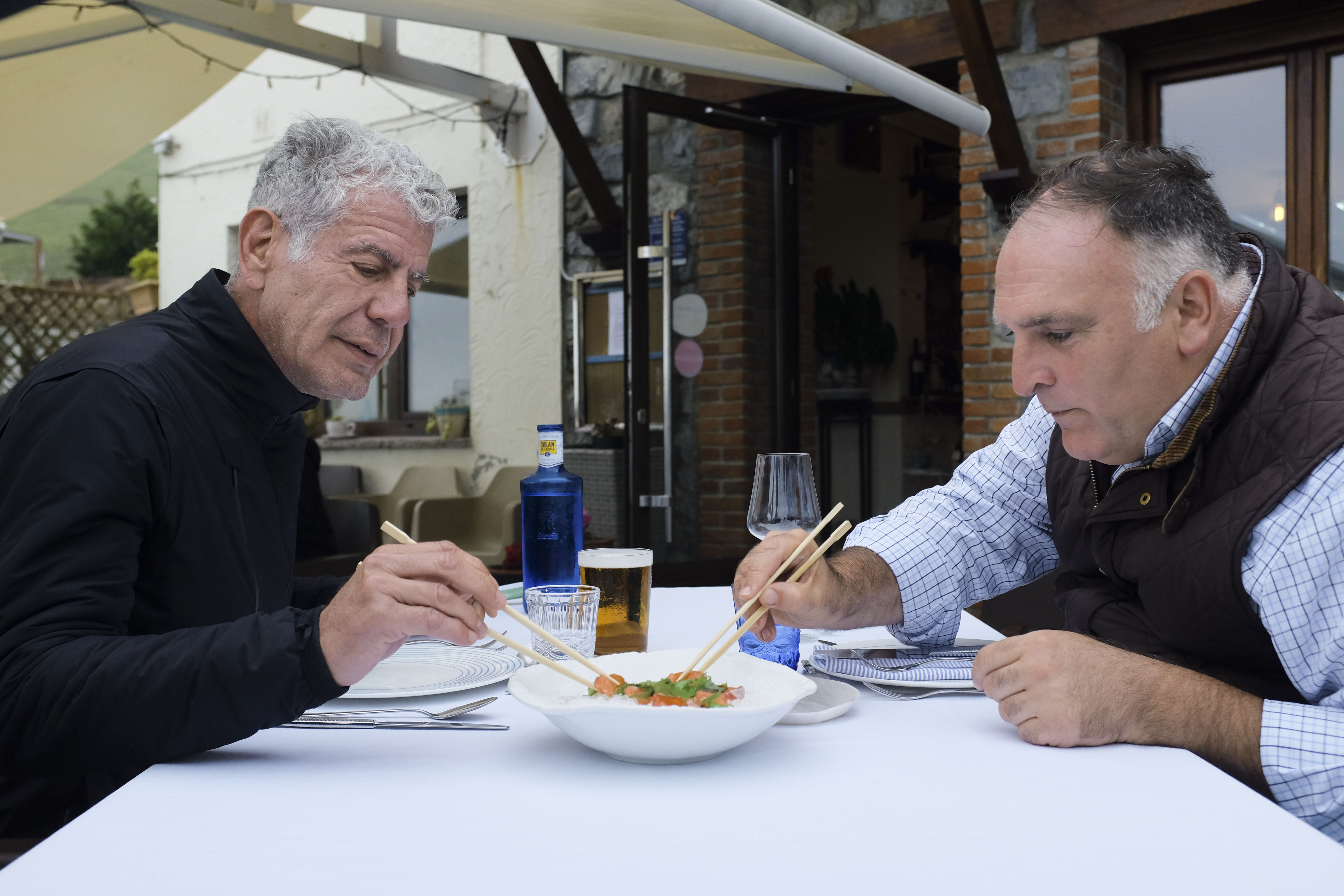 Anthony Bourdain and Jose Andres dining in Asturias, Spain.