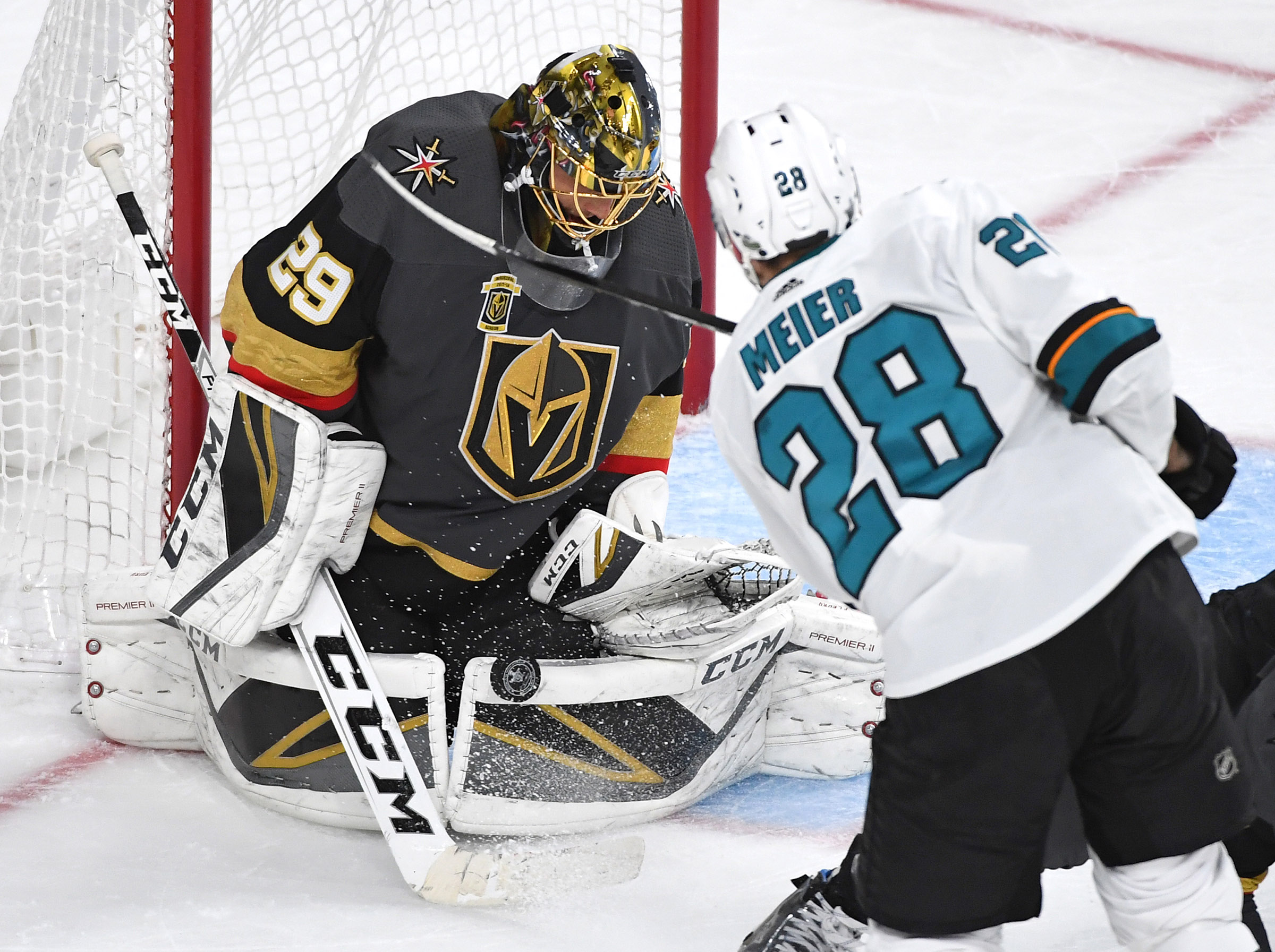 May 4, 2018; Las Vegas, NV, USA; Vegas Golden Knights goaltender Marc-Andre Fleury (29) makes a third period save against San Jose Sharks right wing Timo Meier (28) in game five of the second round of the 2018 Stanley Cup Playoffs at T-Mobile Arena.