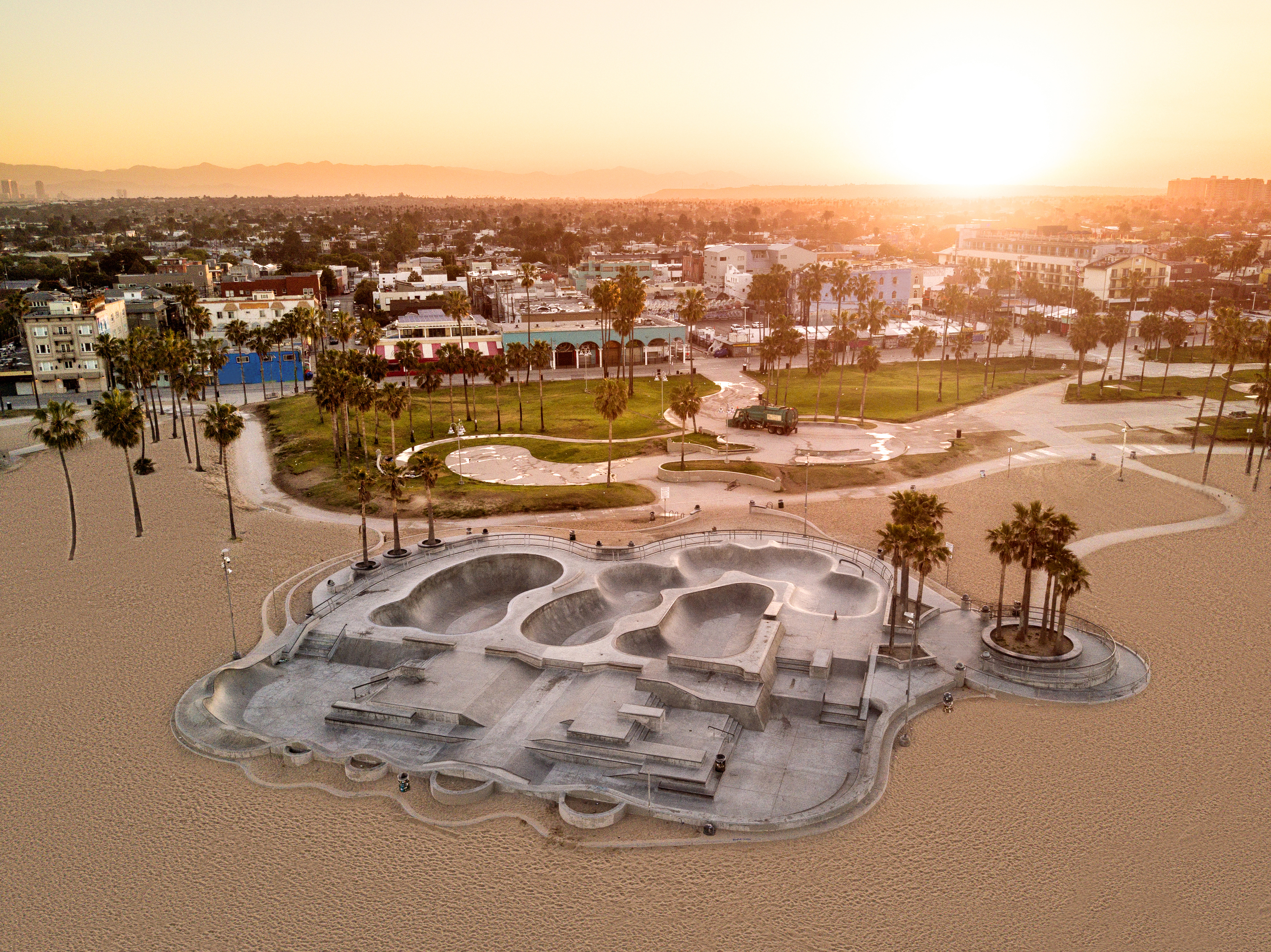 Aerial view of Venice Beach at sunrise.