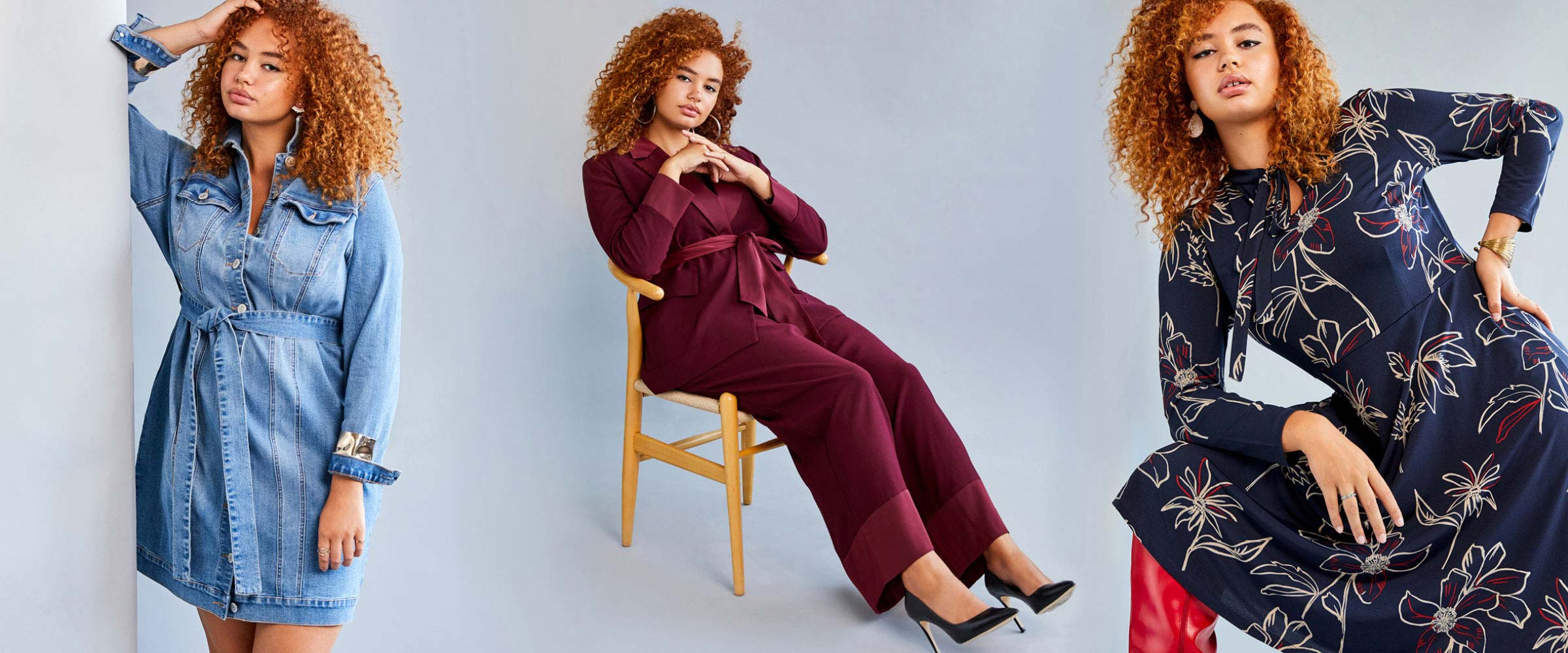 A woman models multiple Eloquii brand outfits