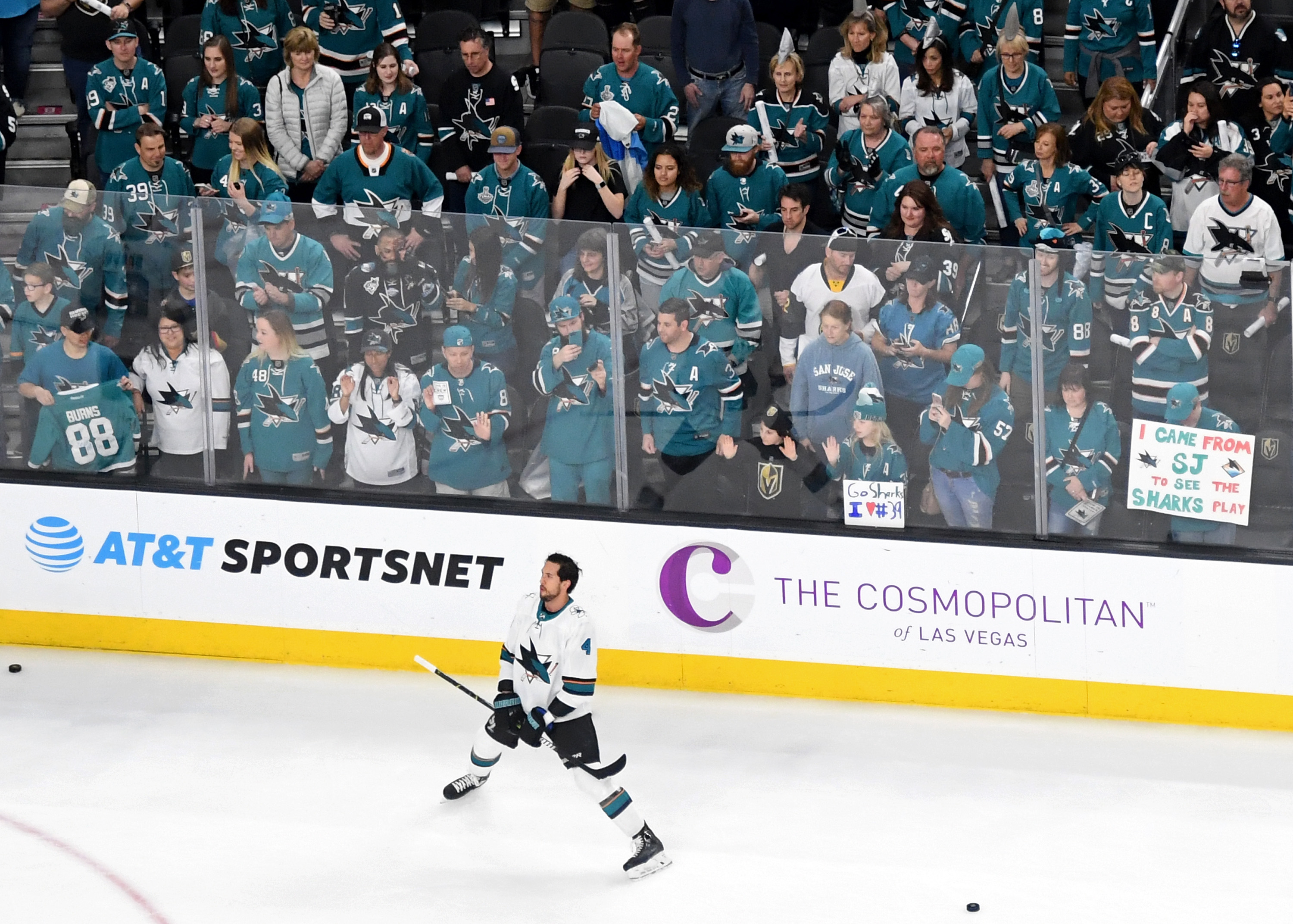 LAS VEGAS, NV - MARCH 31: San Jose Sharks fans watch the team warm up before a game against the Vegas Golden Knights at T-Mobile Arena on March 31, 2018 in Las Vegas, Nevada. The Golden Knights won 3-2 and clinched the Pacific Division title.