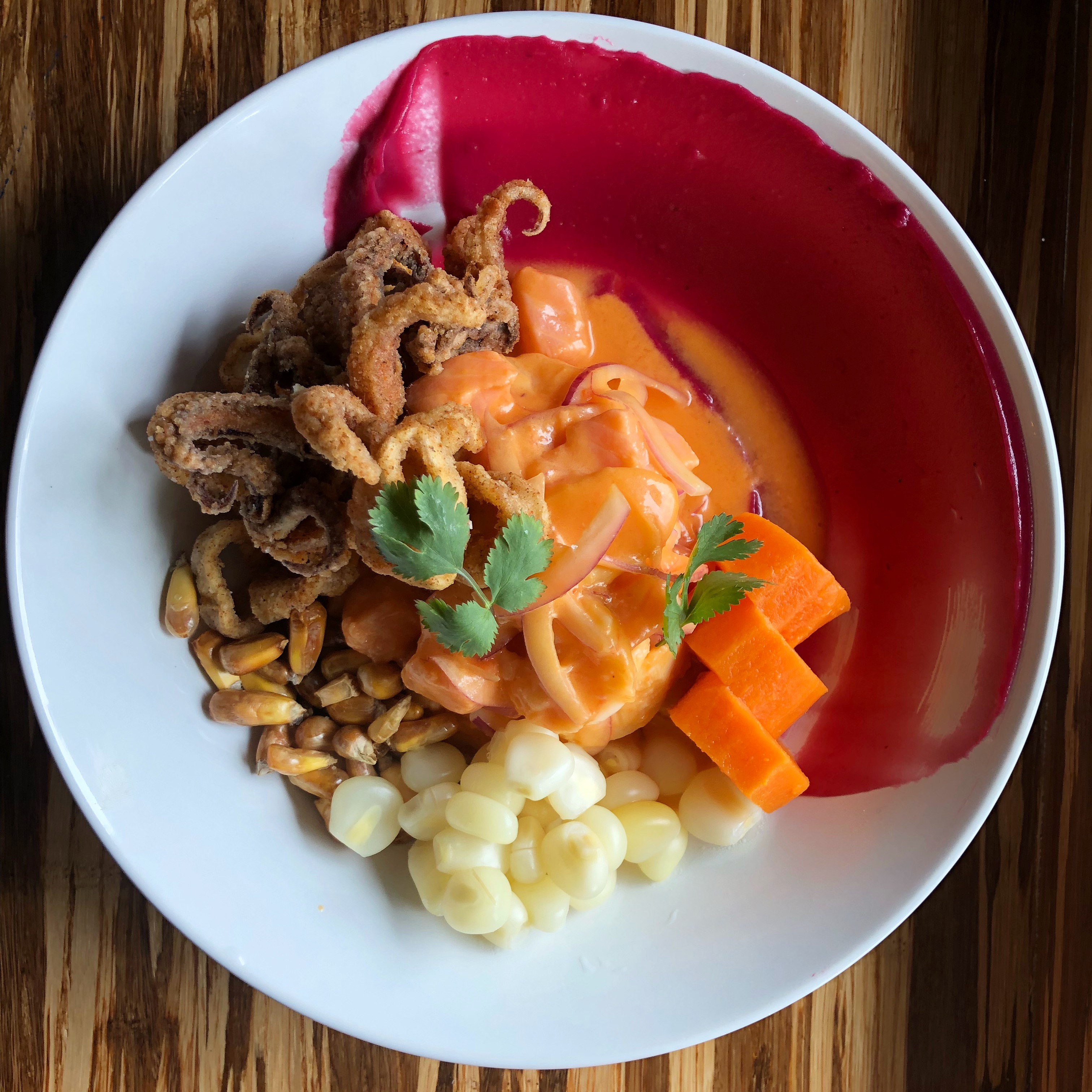 A bowl of ceviche with hunks of raw fish, sweet potato, corn, and just a touch of fried calamari