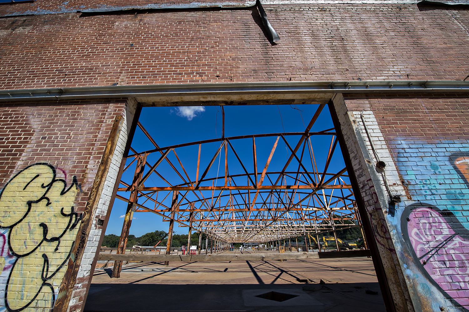 A look through the current back entrance to the main building at Pittsburgh Yards, where windows will be installed.