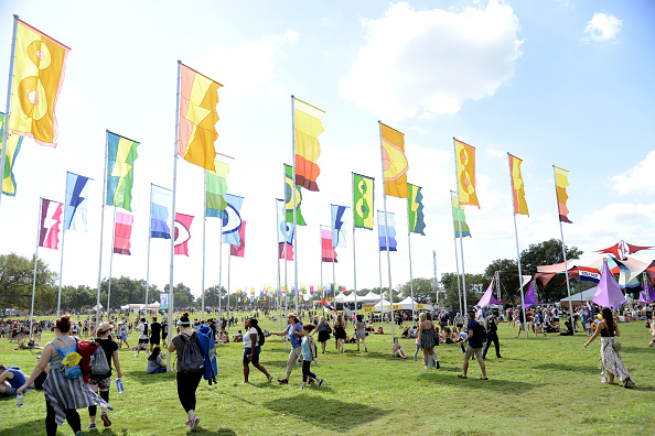 Field of colorful flags, blue sky