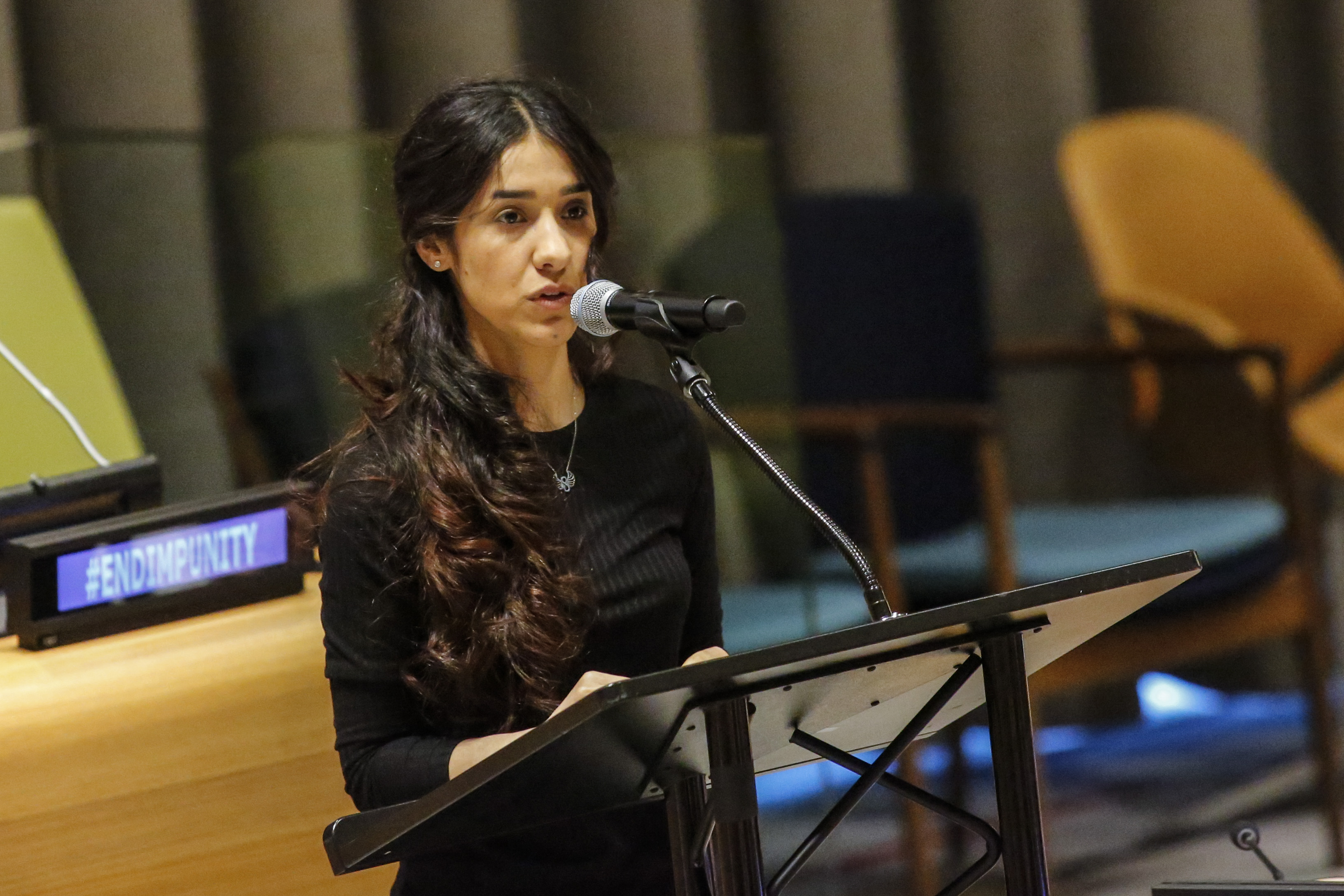Yazidi human rights activist Nadia Murad speaks as she attends 'The Fight against Impunity for Atrocities: Bringing Da'esh to Justice' at the United Nations Headaquarters on March 9, 2017 in New York.
