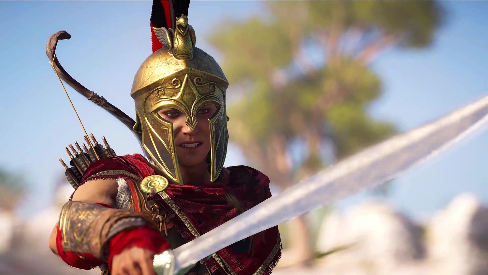 Assassin's Creed Odyssey - Kassandra holding her sword