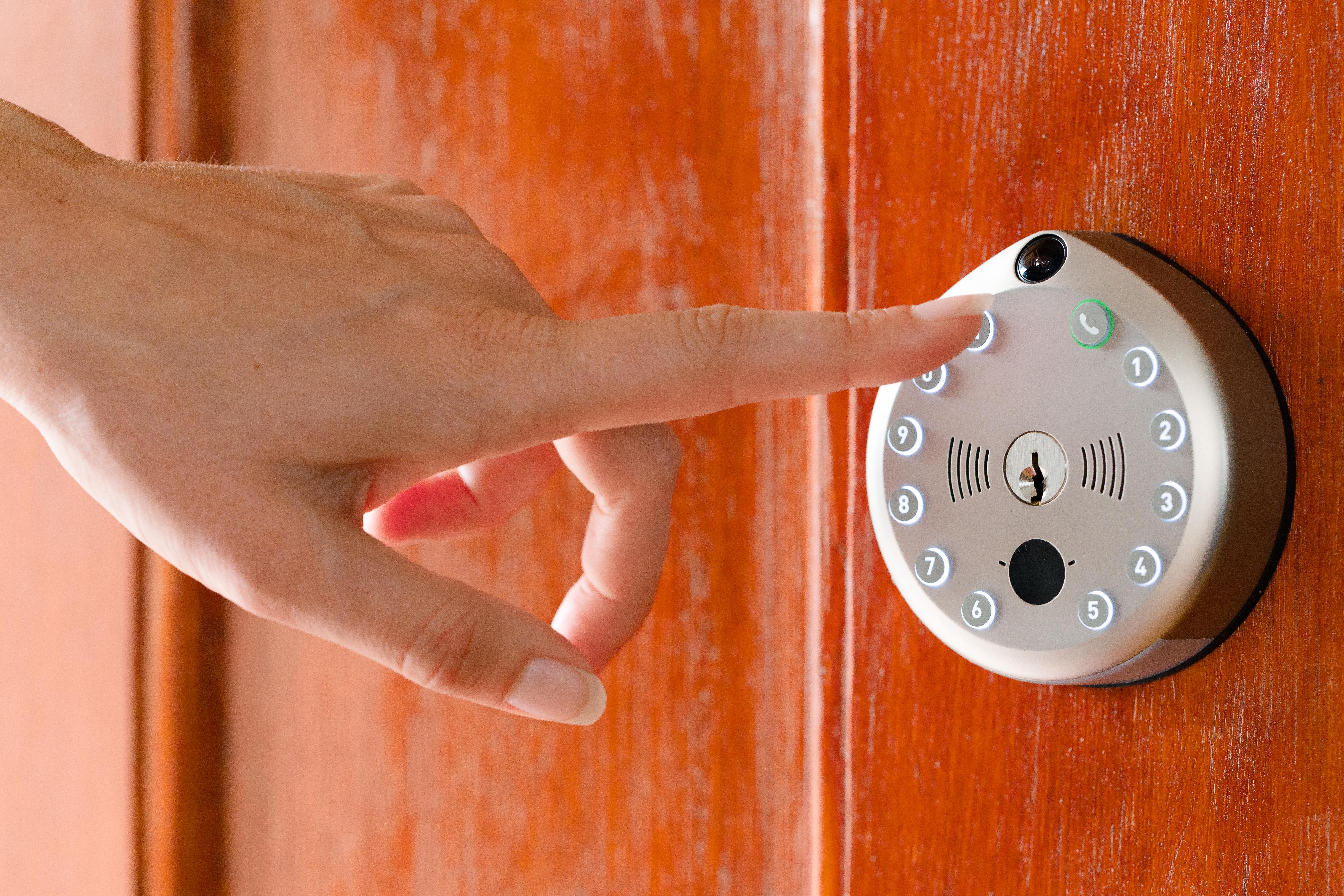 Smart lock on red door