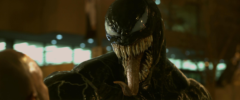 Venom sticking out his tongue