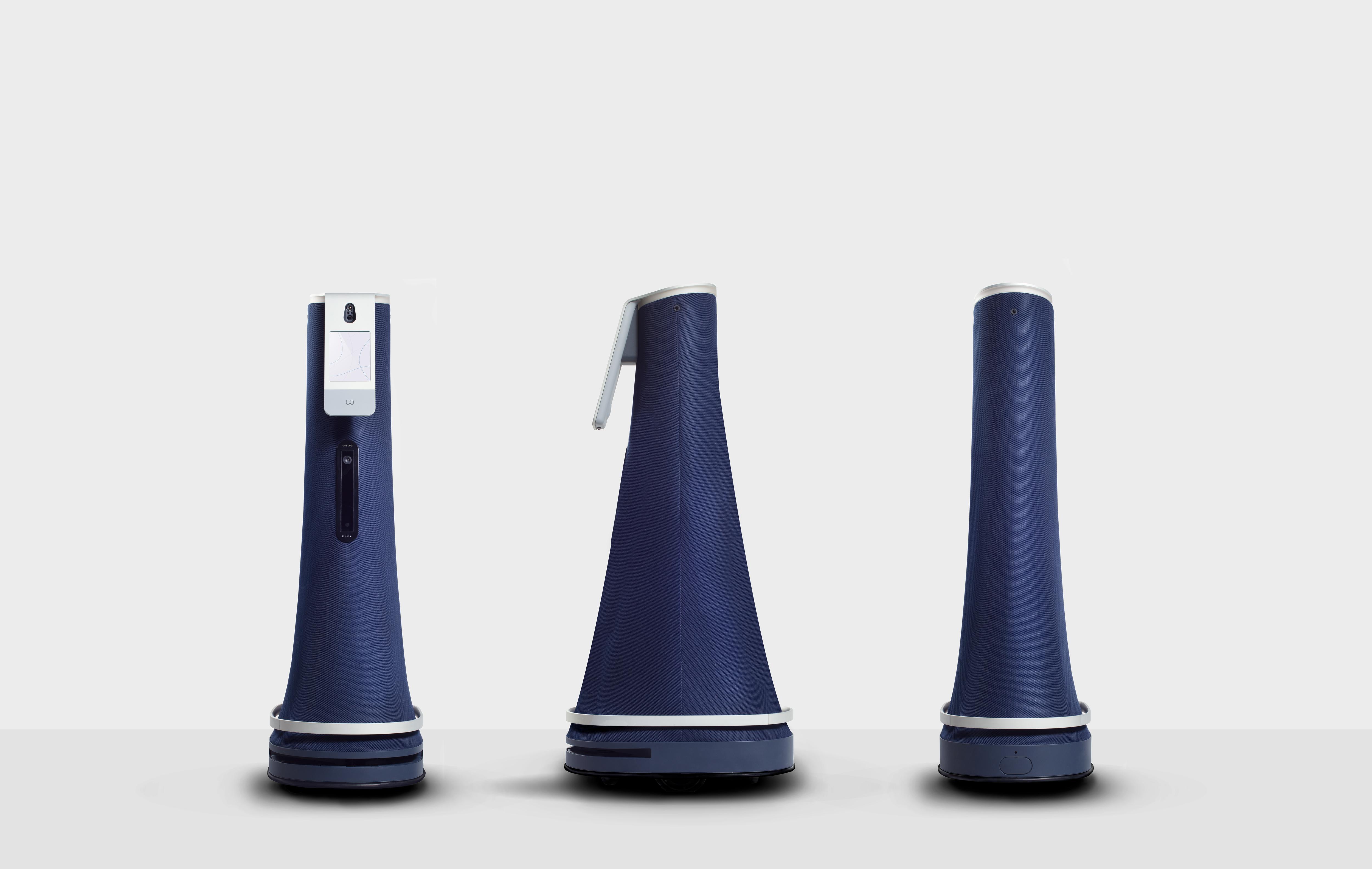 three Cobalt security robots