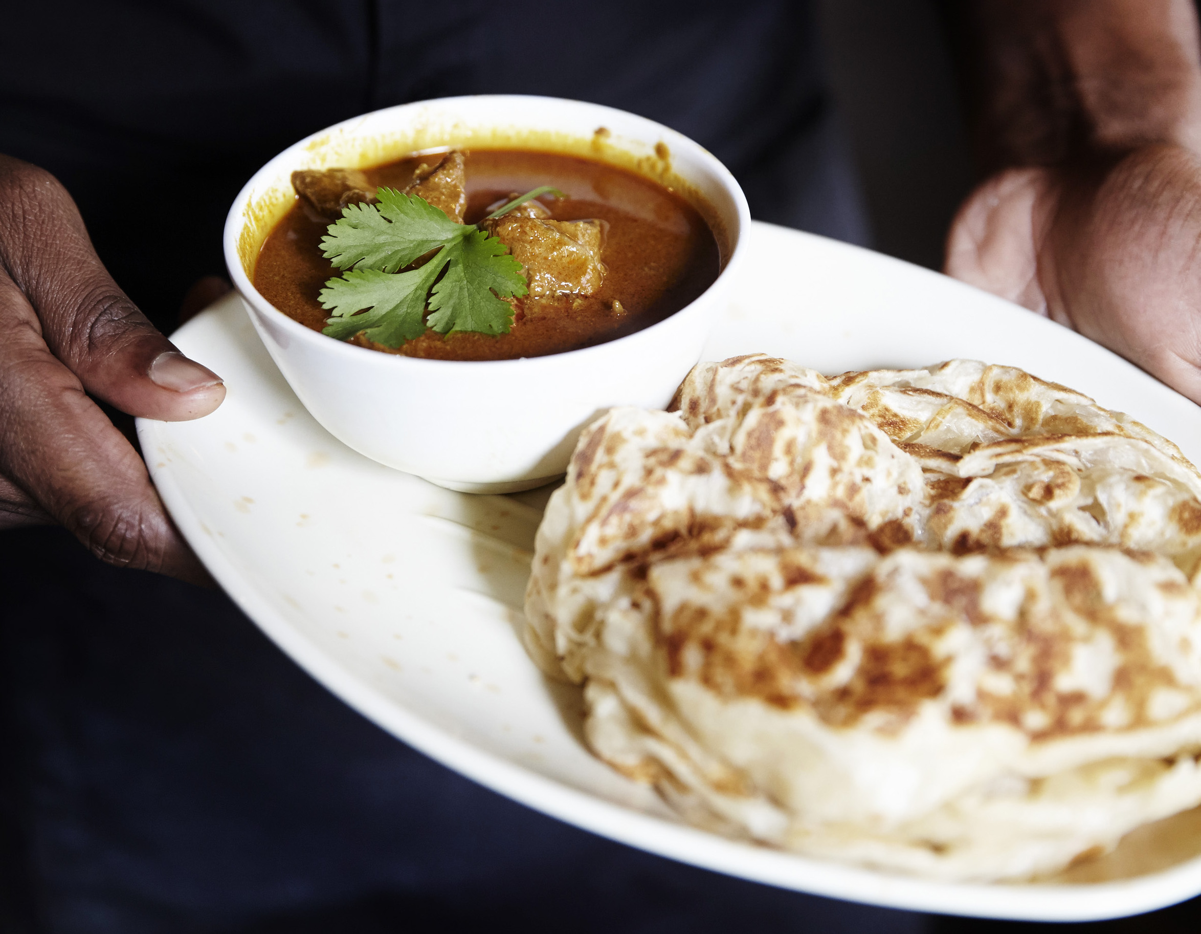 Roti canai at Roti King, reopened in Euston