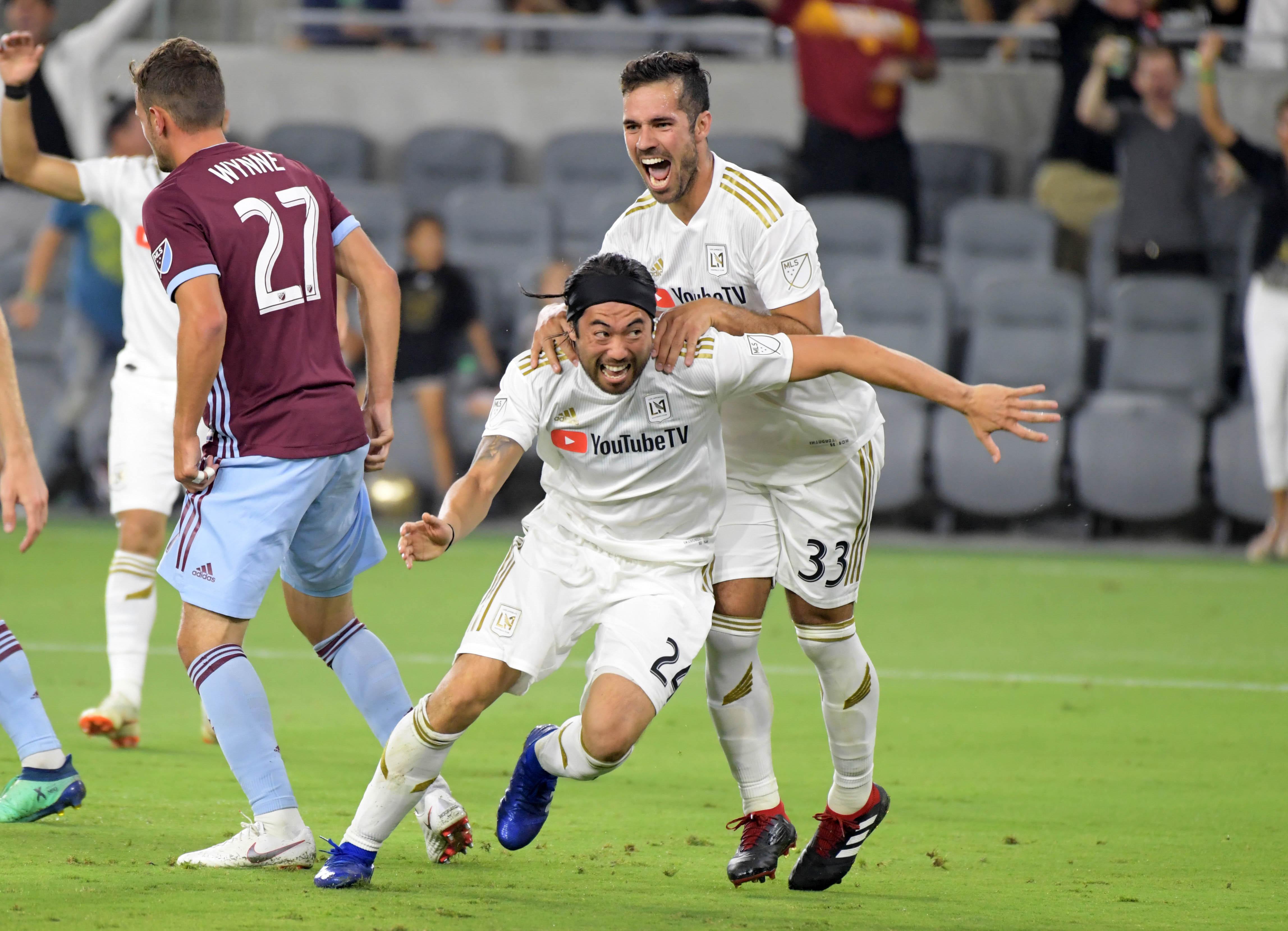 MLS - Los Angeles FC - Lee Nguyen celebrates with Benny Feilhaber
