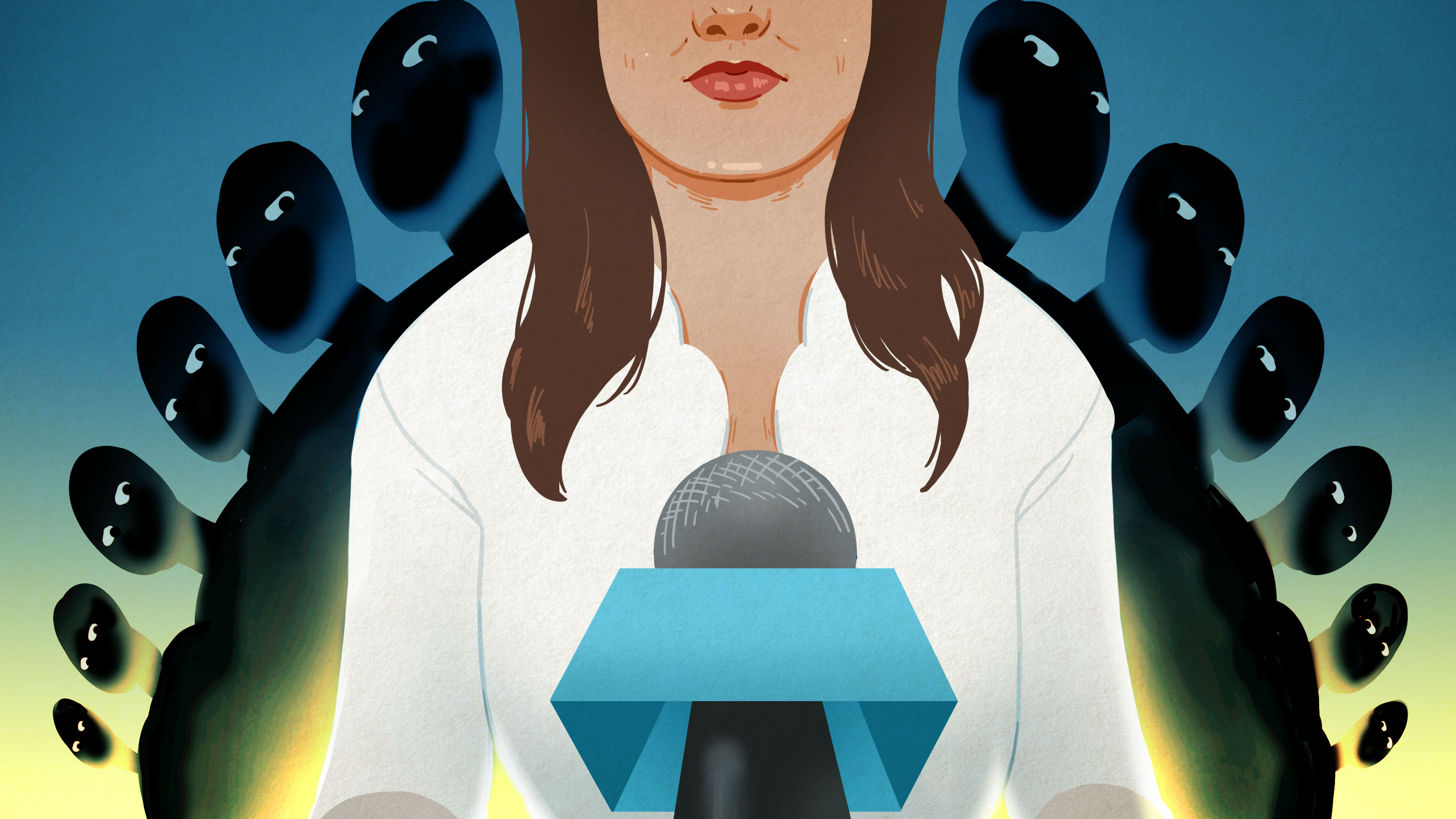 Illustration of a woman in front of a microphone