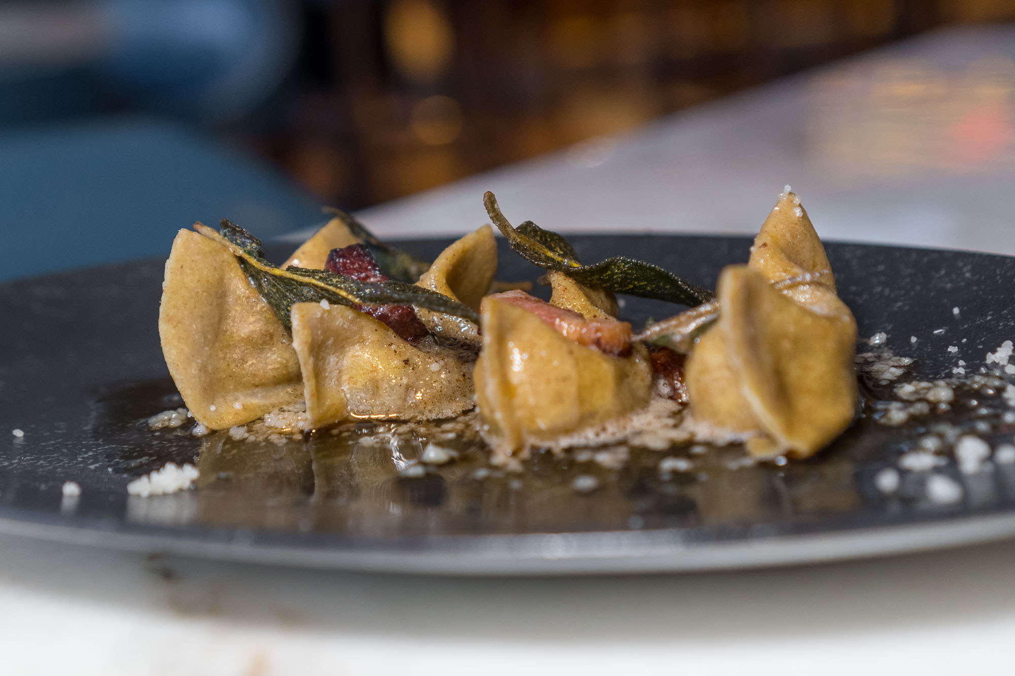 Casoncelli Bergarmascan meat-filled raviolis with amaretti cookies, raisins, sage, and pancetta from Marc Vetri