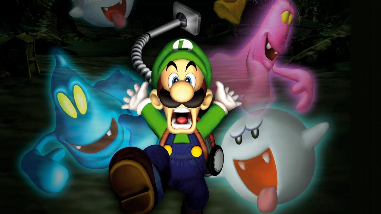 Luigi's Mansion art of Luigi and ghost characters