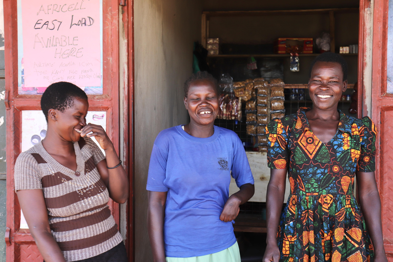 Village enterprise participants Jacqueline, Irene, and Agnes in Nwoya, Uganda.