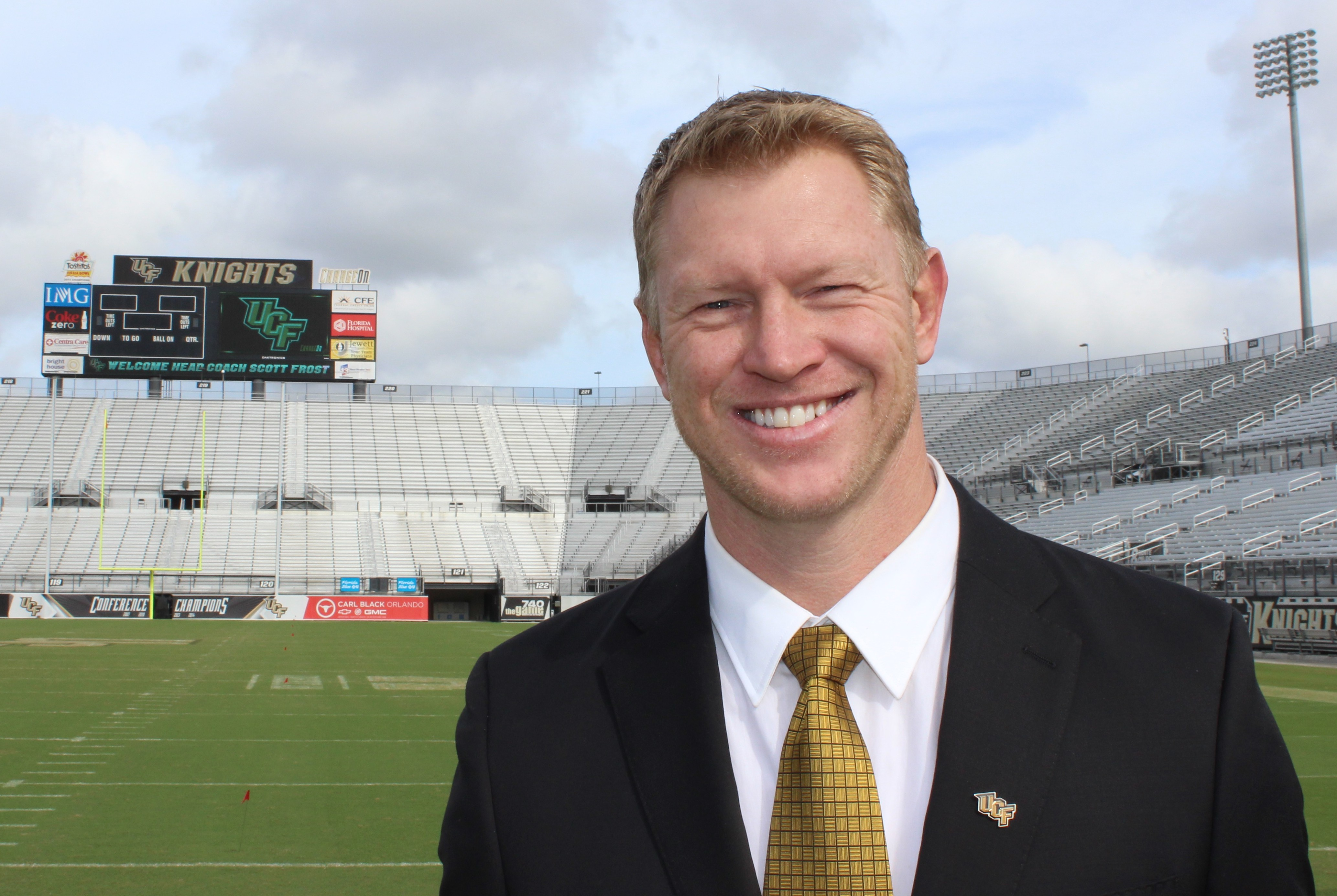 UCF head football coach Scott Frost poses for a photo at Bright House Networks Stadium following his introduction on December 2, 2015. (Photo: Jeff Sharon/BlackandGoldBanneret.com)