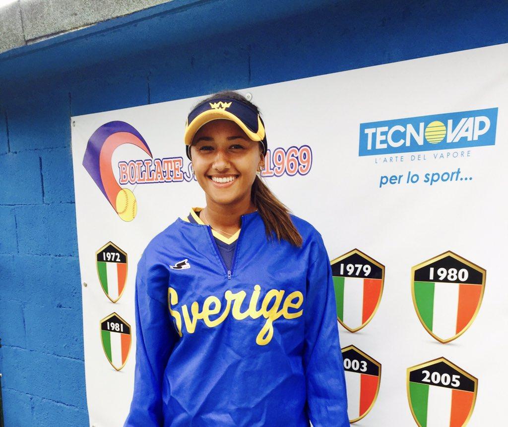 UCF Softball alumna Linnea Goodman playing for the Swedish National Softball Team.