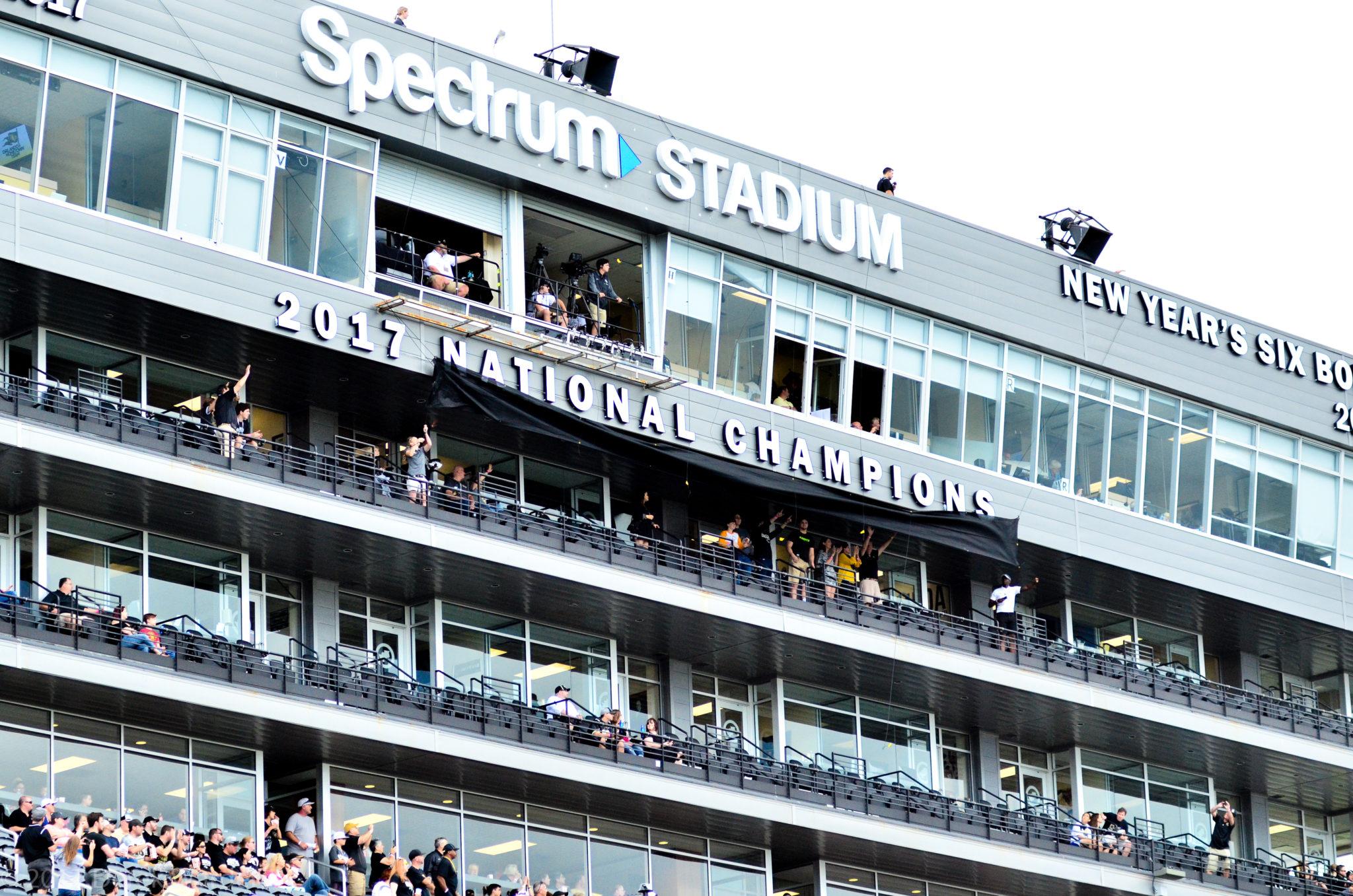 UCF's National Champions Marquee at Spectrum Stadium. (Photo: Derek Warden)