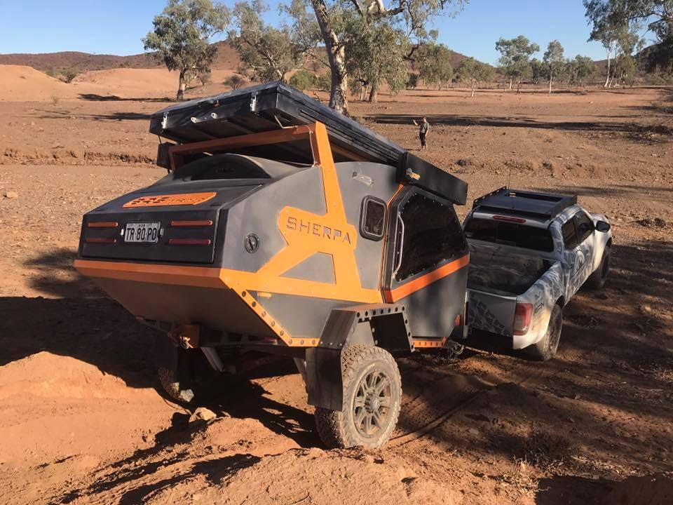 Burly camper trailer tackles any terrain and sleeps four