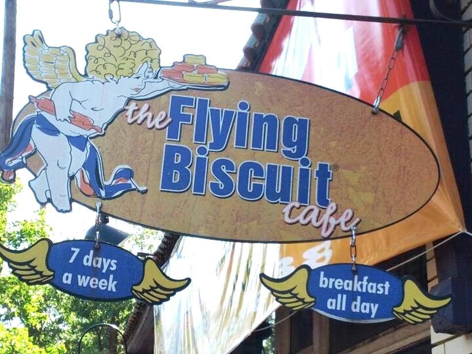 Signage for The Flying Biscuit Cafe in Candler Park.
