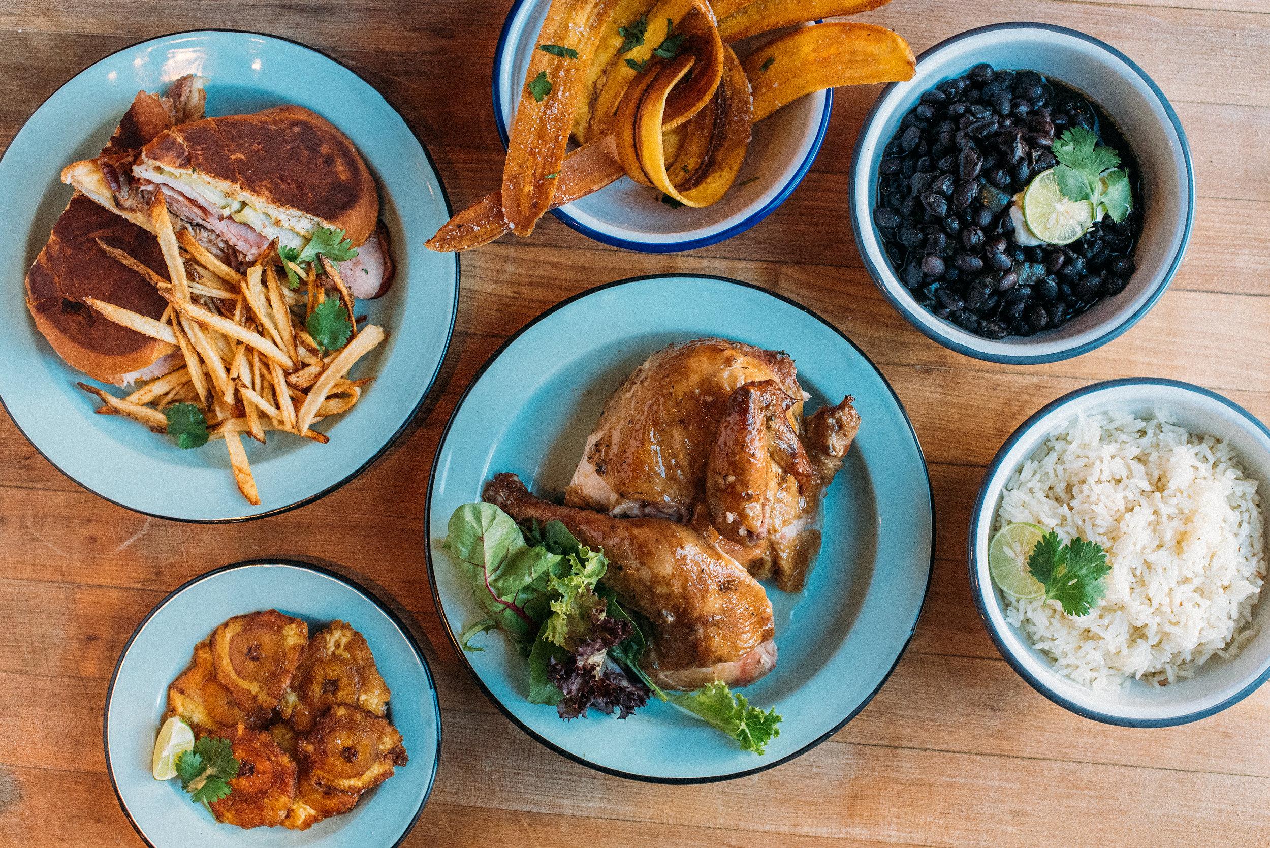 A spread of food at Isla Vida