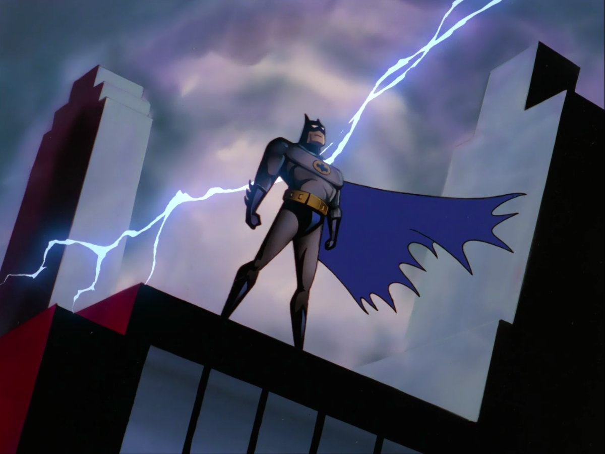 From the theme sequence of Batman: The Animated Series.
