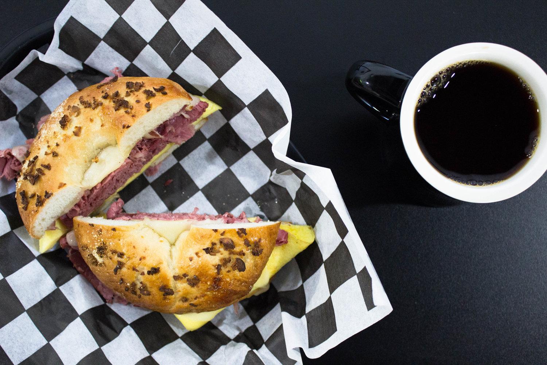 A breakfast bagel sandwich from Biderman's Deli