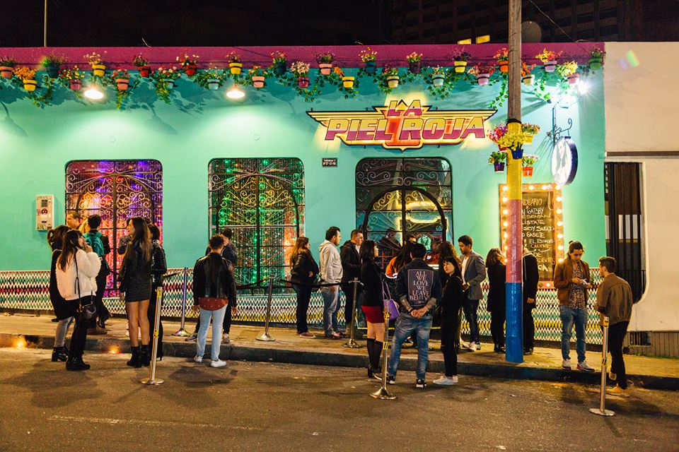 Exterior of the bar La Piel Roja in Bogota, Colombia