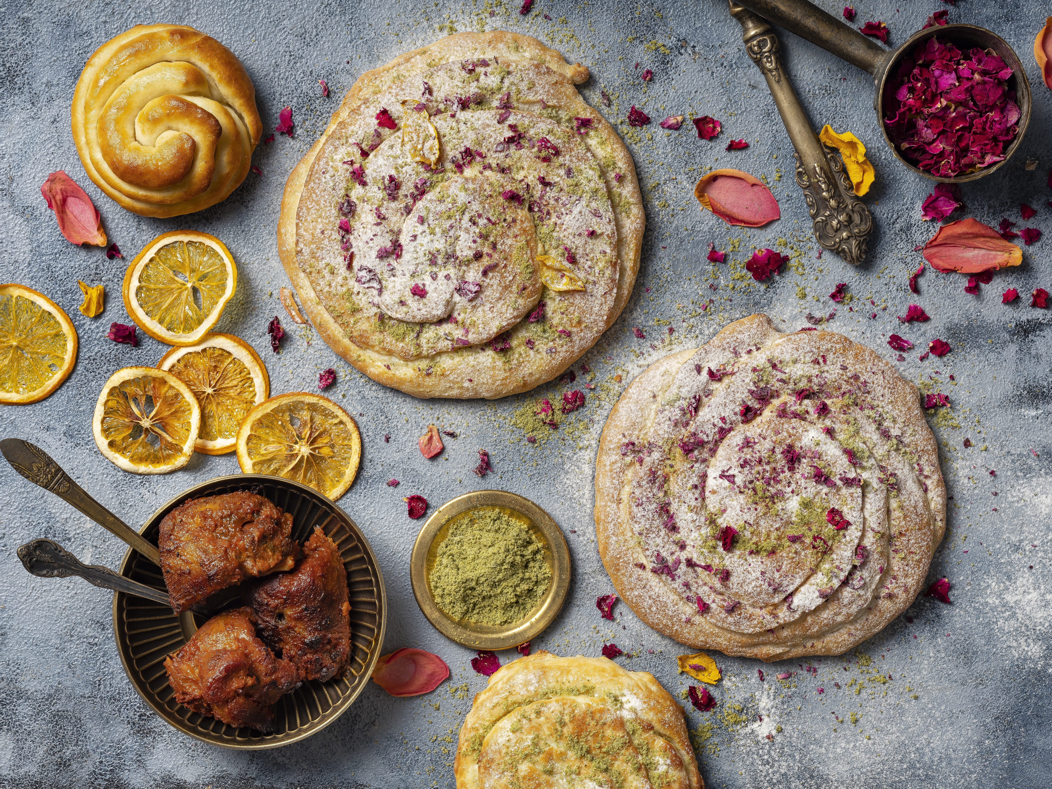 Lamb and pink rose bread with apple cider jam at Gupshup
