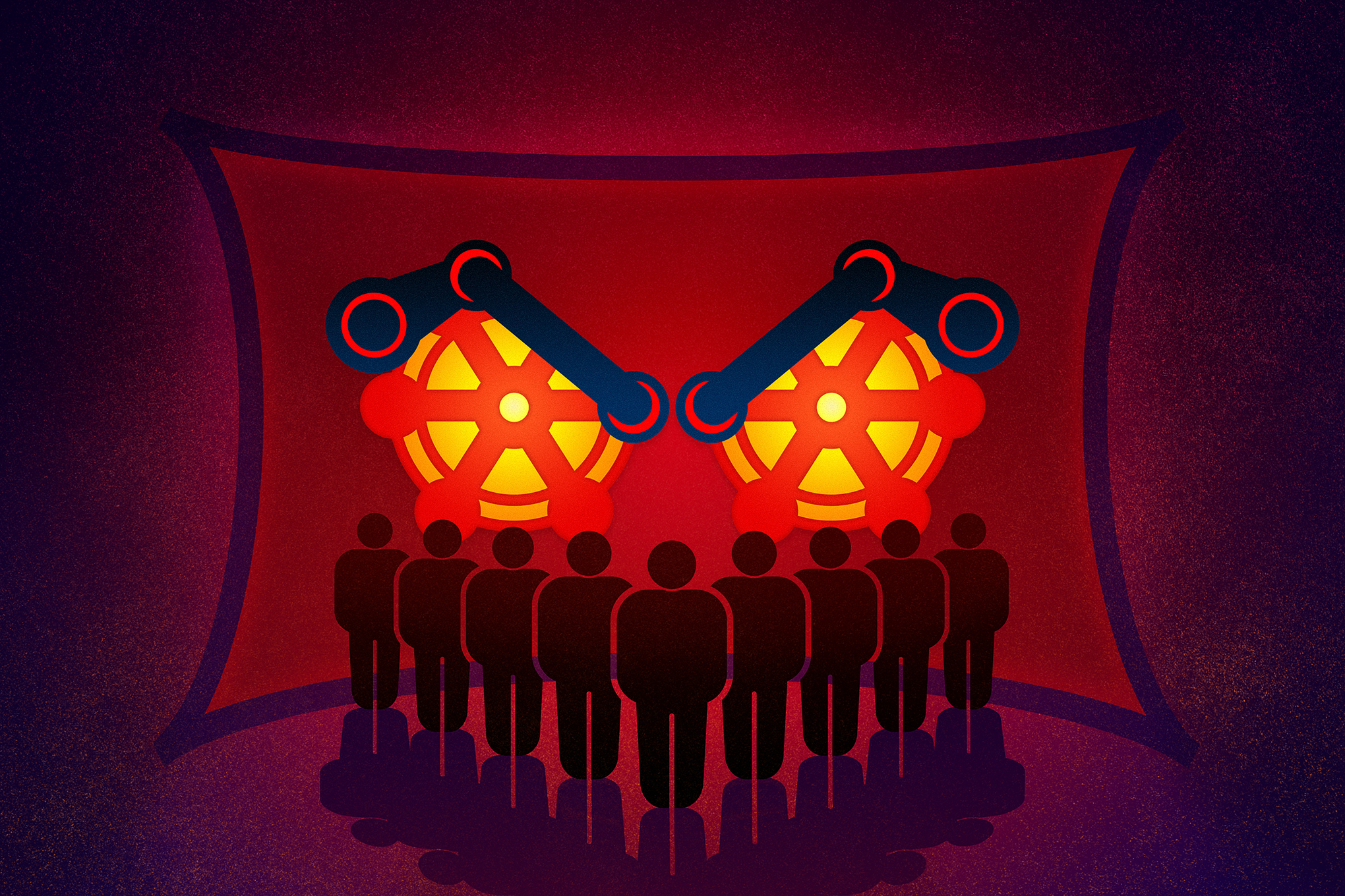 illustration of a bunch of human figures standing in front of Steam logos in a red room