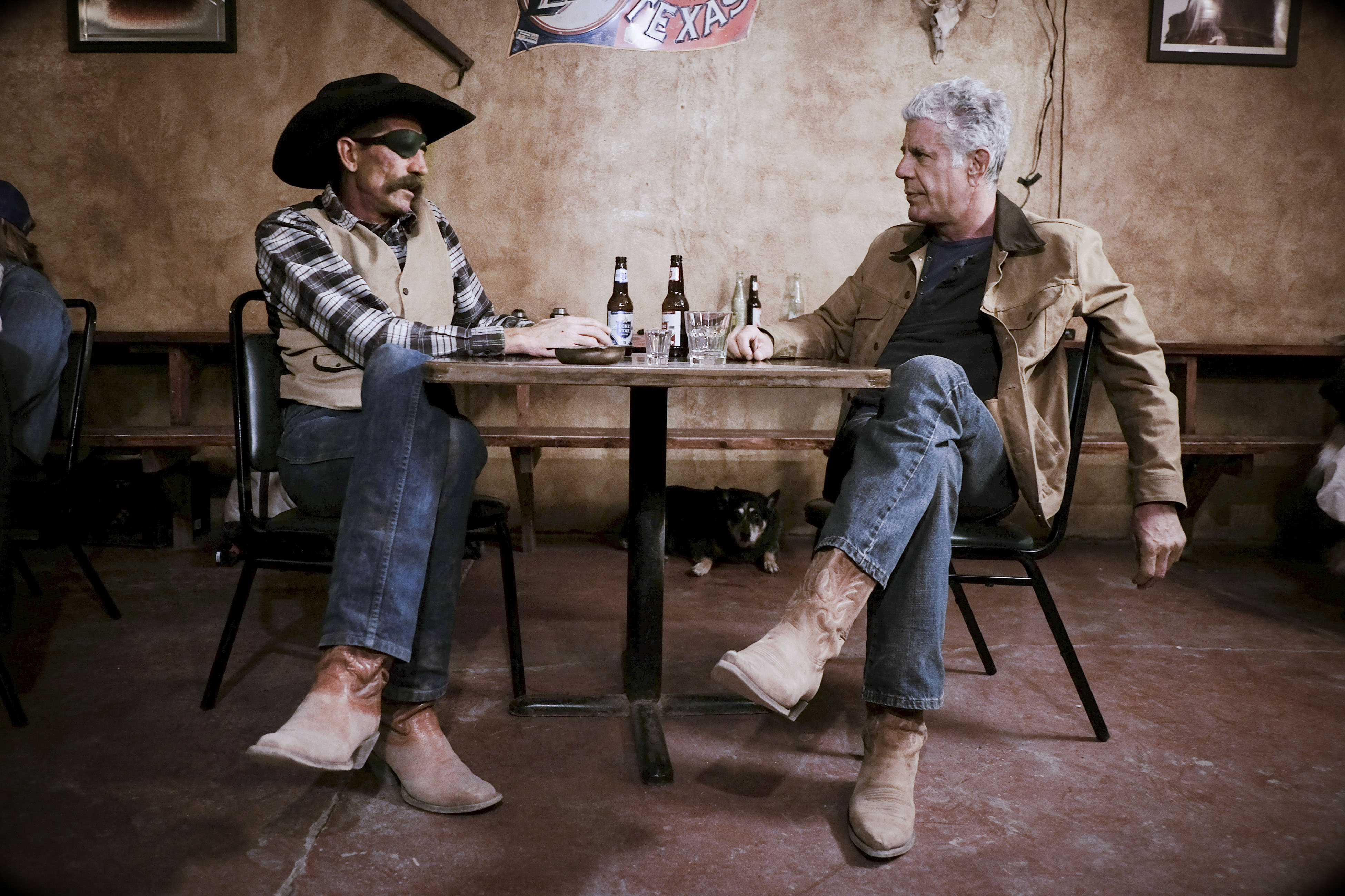 Anthony Bourdain and cowboy-turned-bar owner Ty Mitchell.