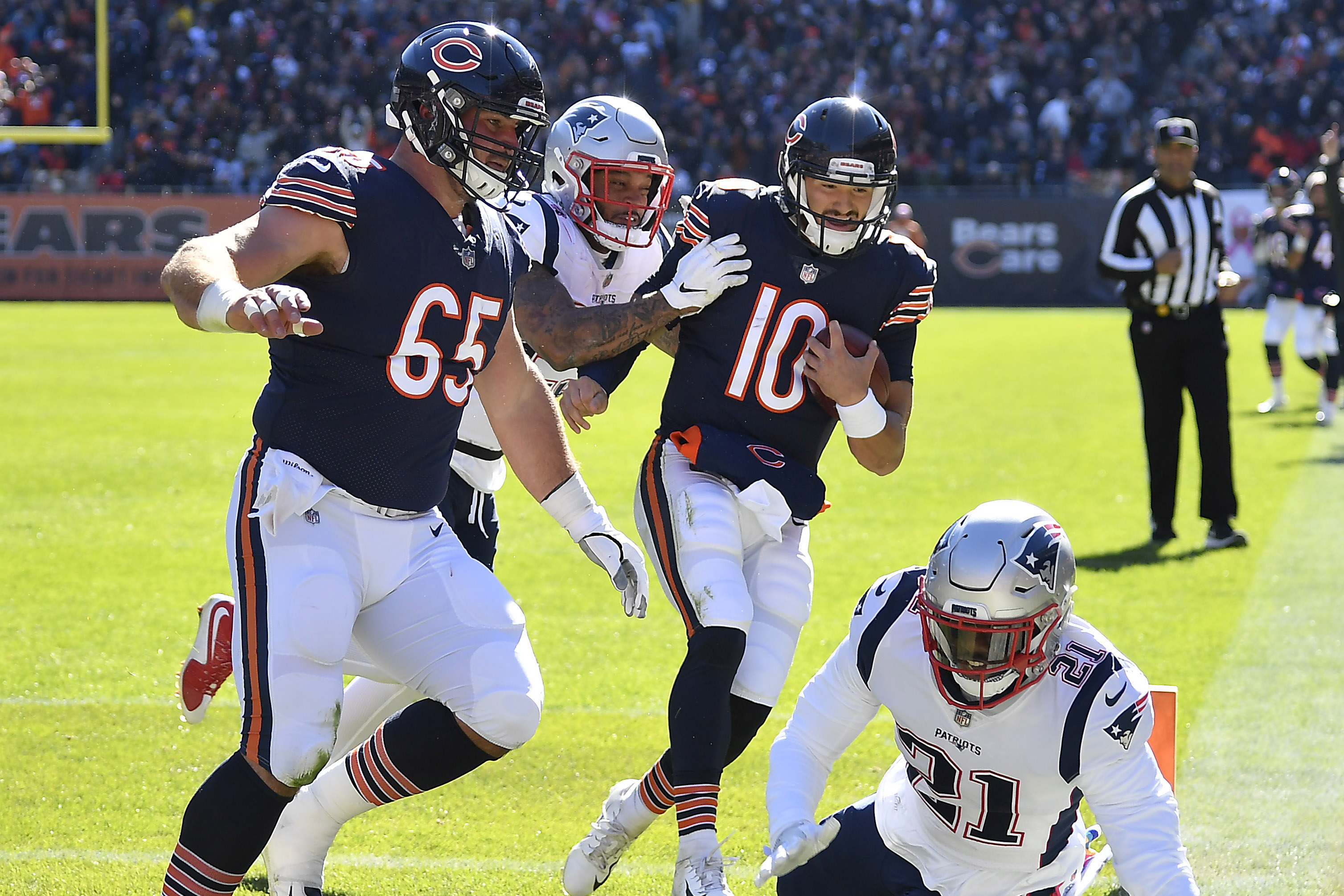Mitchell Trubisky's arm couldn't beat the Patriots. But his legs almost did