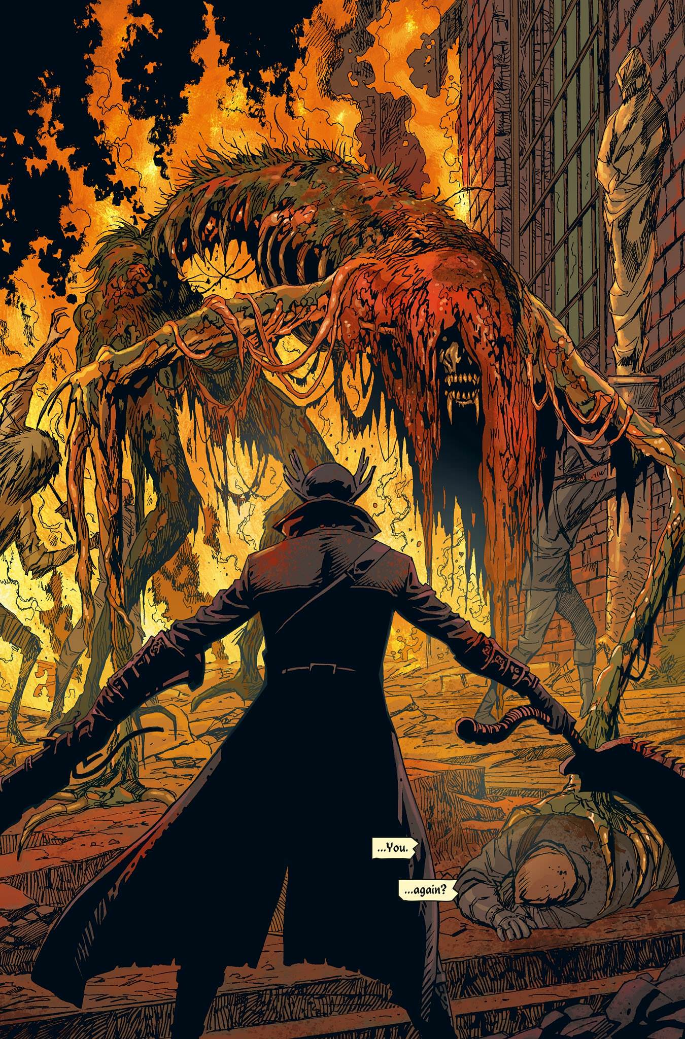 The Hunter and a monster in Bloodborne: The Death of Sleep, a comic tie-in.