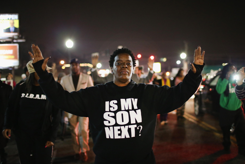 Protests in Ferguson, Missouri.