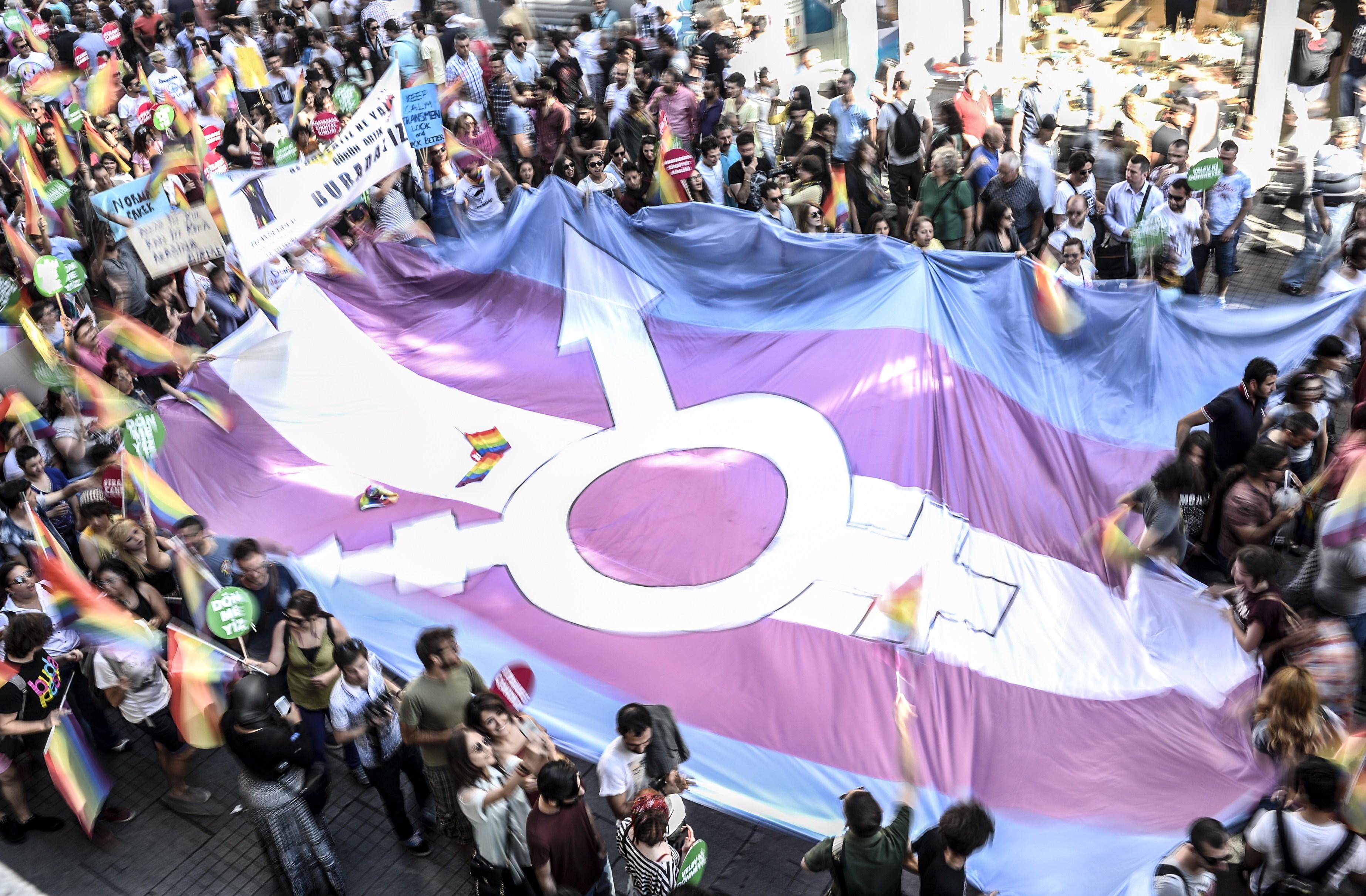 A transgender flag.