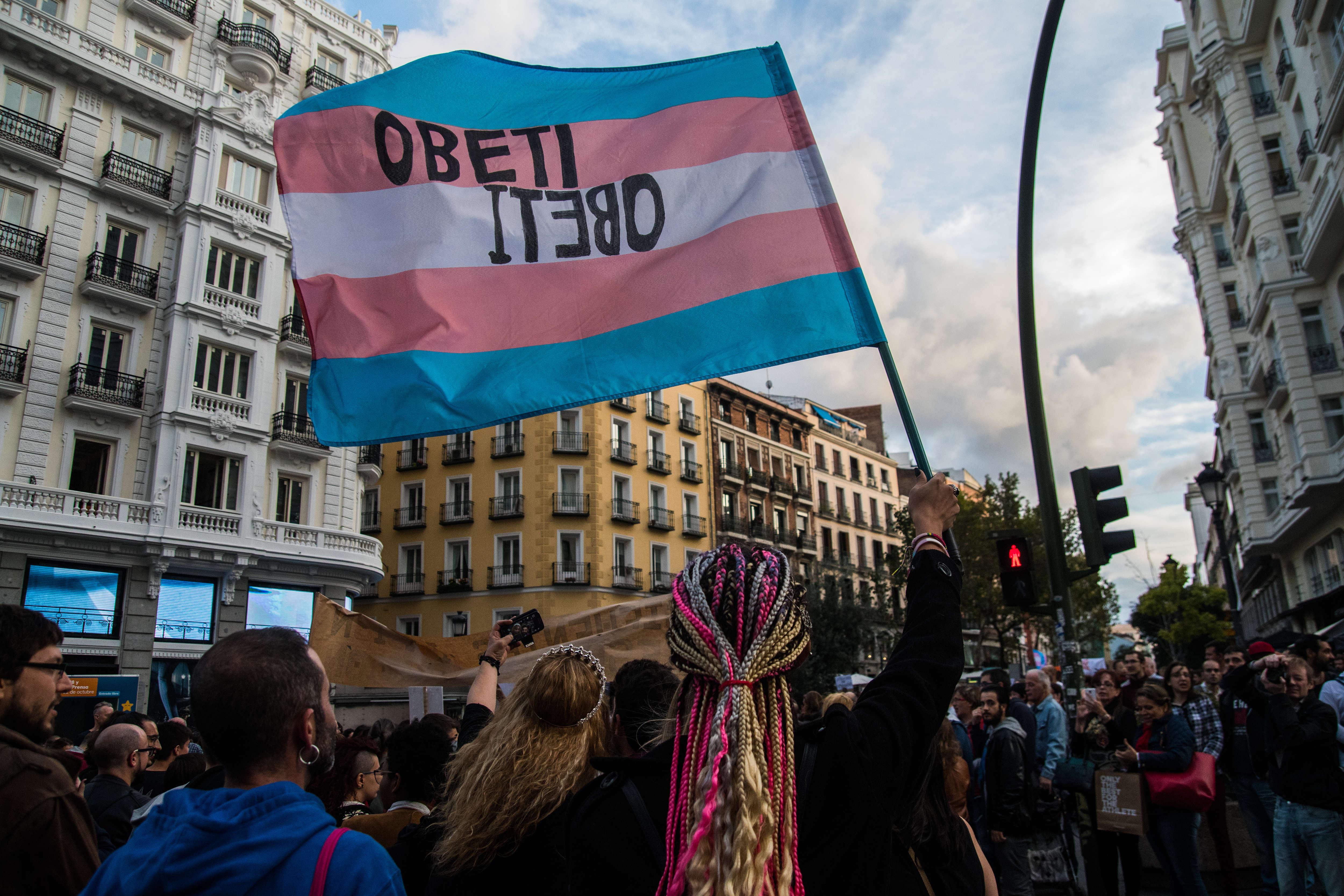Transgender protesters in Madrid, Spain.