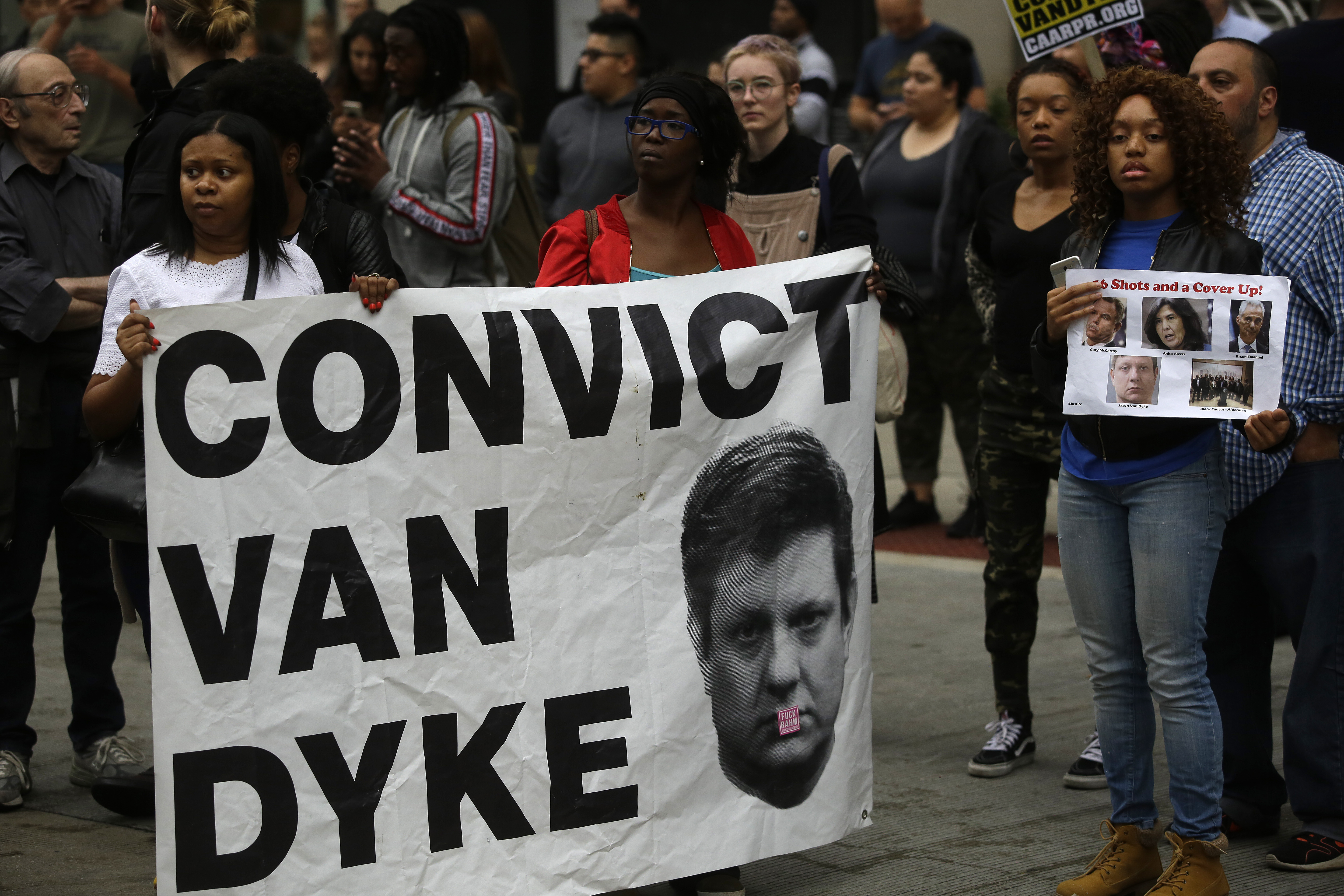 Protesters call for the conviction of Chicago police officer Jason Van Dyke.