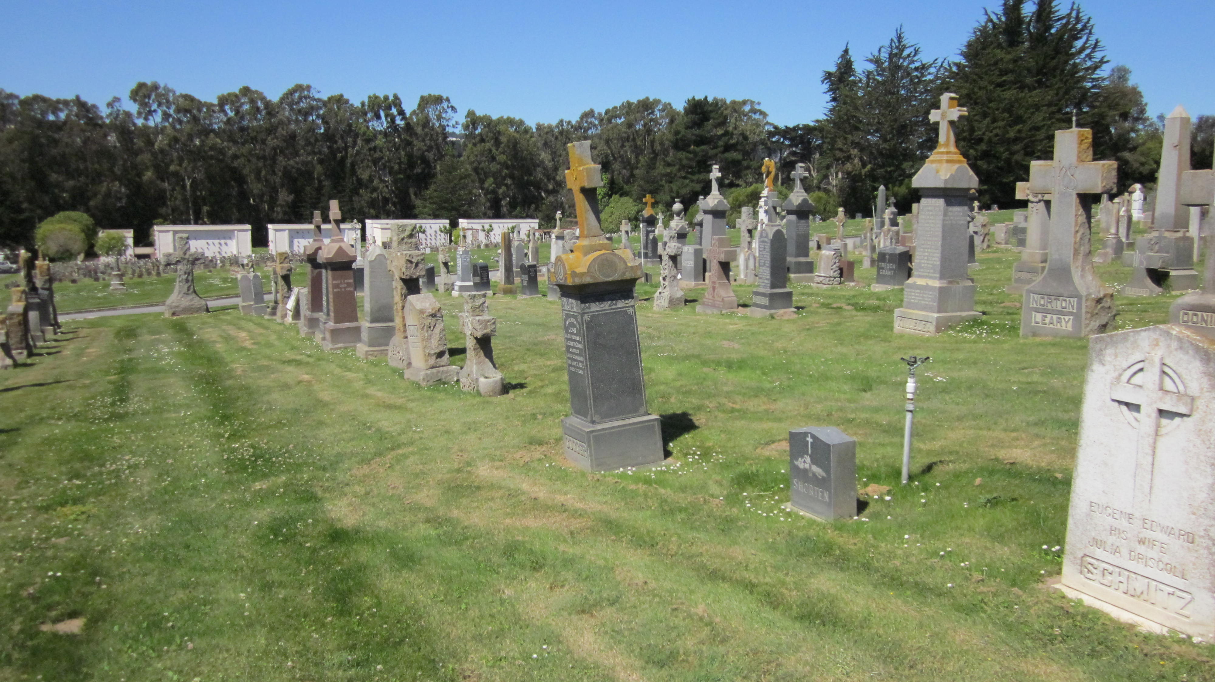 Leaning tombstones in Holy Cross Cemetery in Colma.