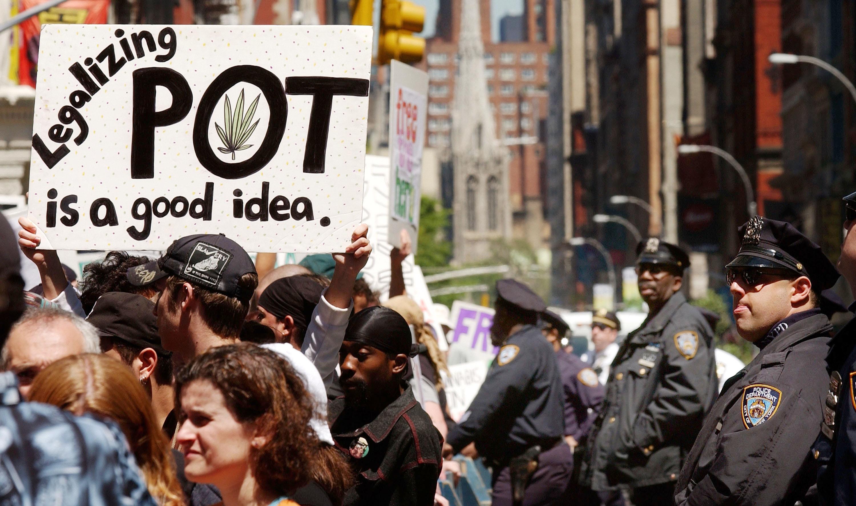 Marijuana legalization protesters in New York City.