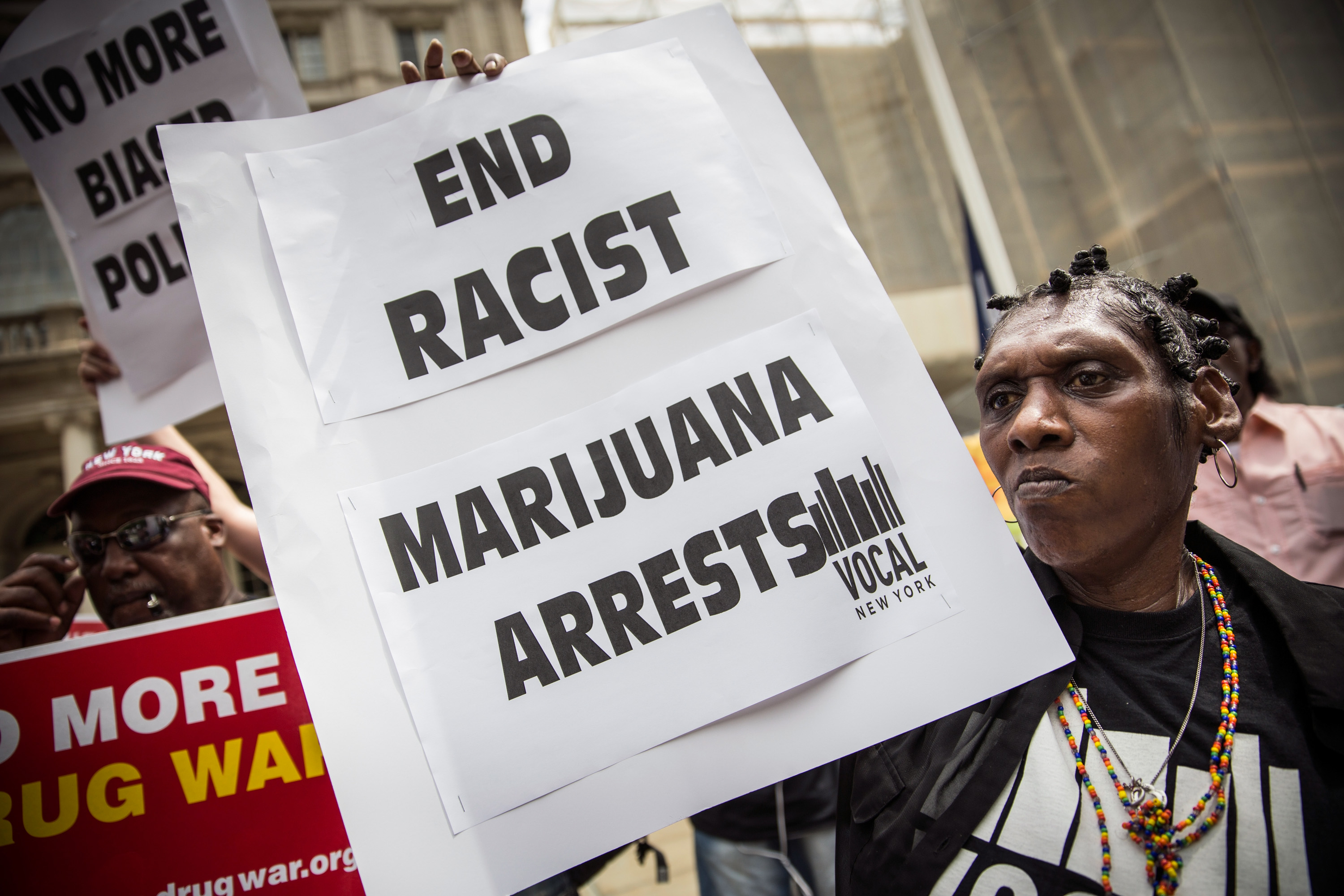 A protester calls for an end to the war on marijuana.